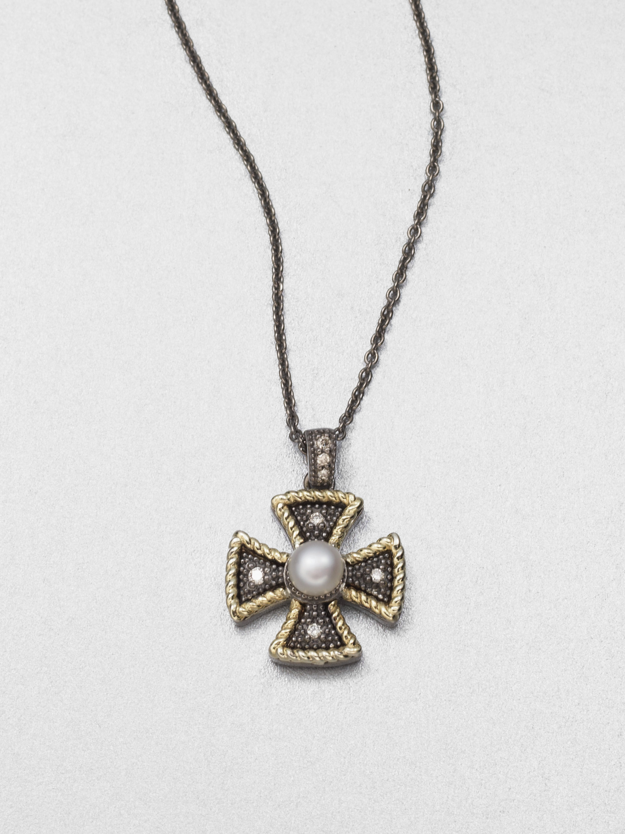 Lyst jude frances semiprecious multistone maltese cross pendant gallery mozeypictures Image collections