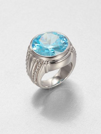 Judith Ripka Sky Blue Crystal Sterling Silver Cocktail Ring - Lyst