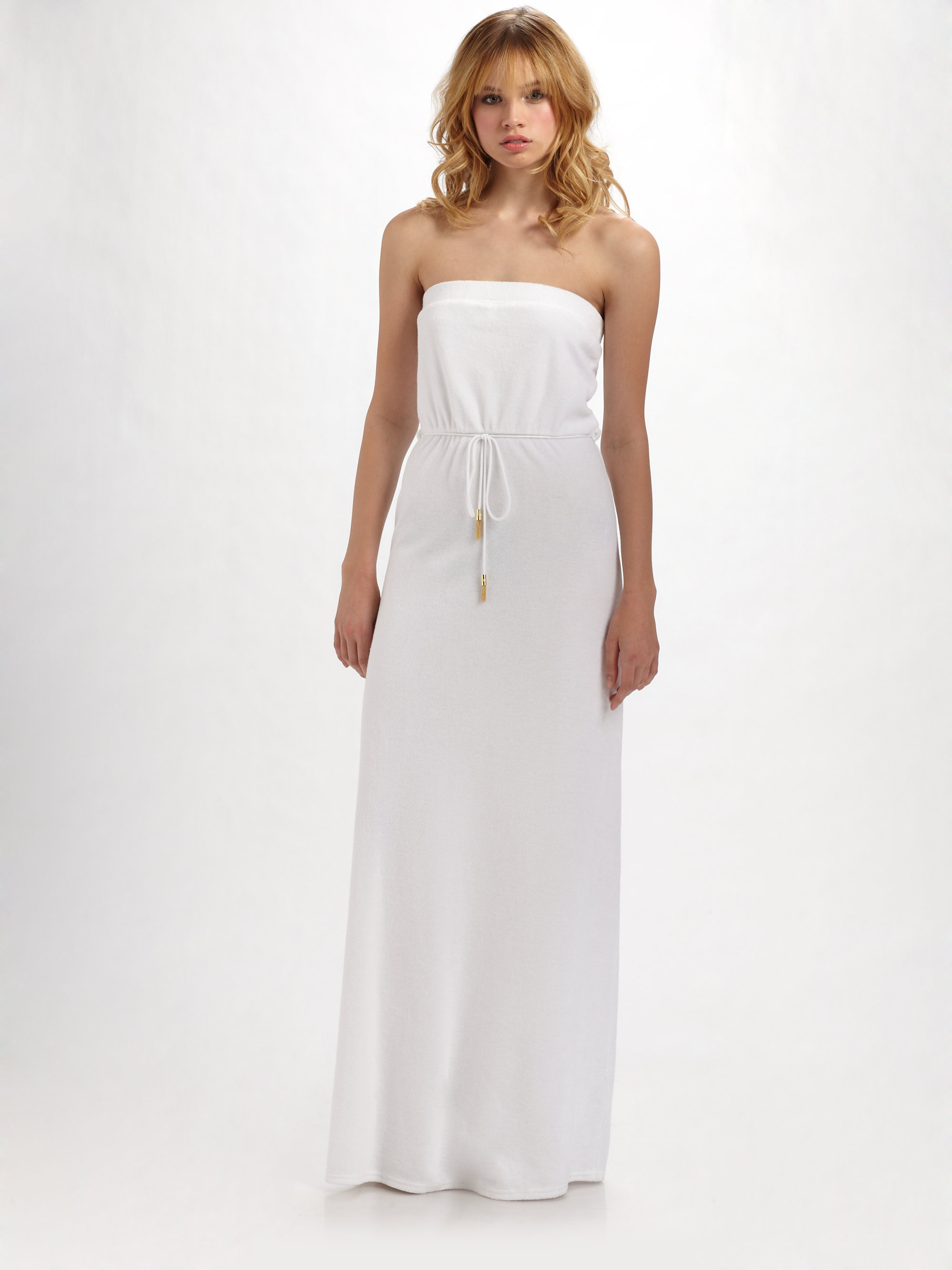 1a48c036d9 Lyst - Juicy Couture Terry Strapless Maxi Dress in White