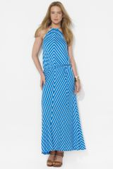 Lauren by Ralph Lauren Chevron Halter Maxi Dress - Lyst