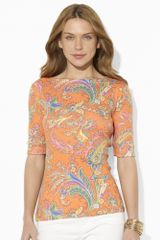 Lauren by Ralph Lauren Paisley Cotton Boatneck Top - Lyst
