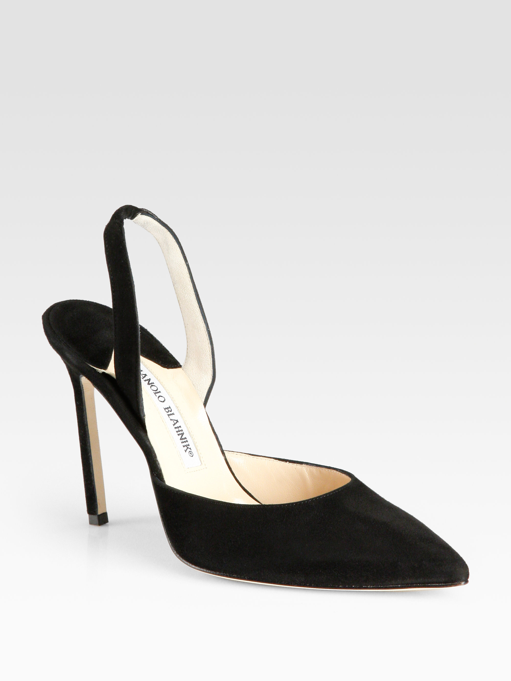 f40caaef804 Lyst - Manolo Blahnik Carolyne Suede Slingback Point Toe Pumps in Black