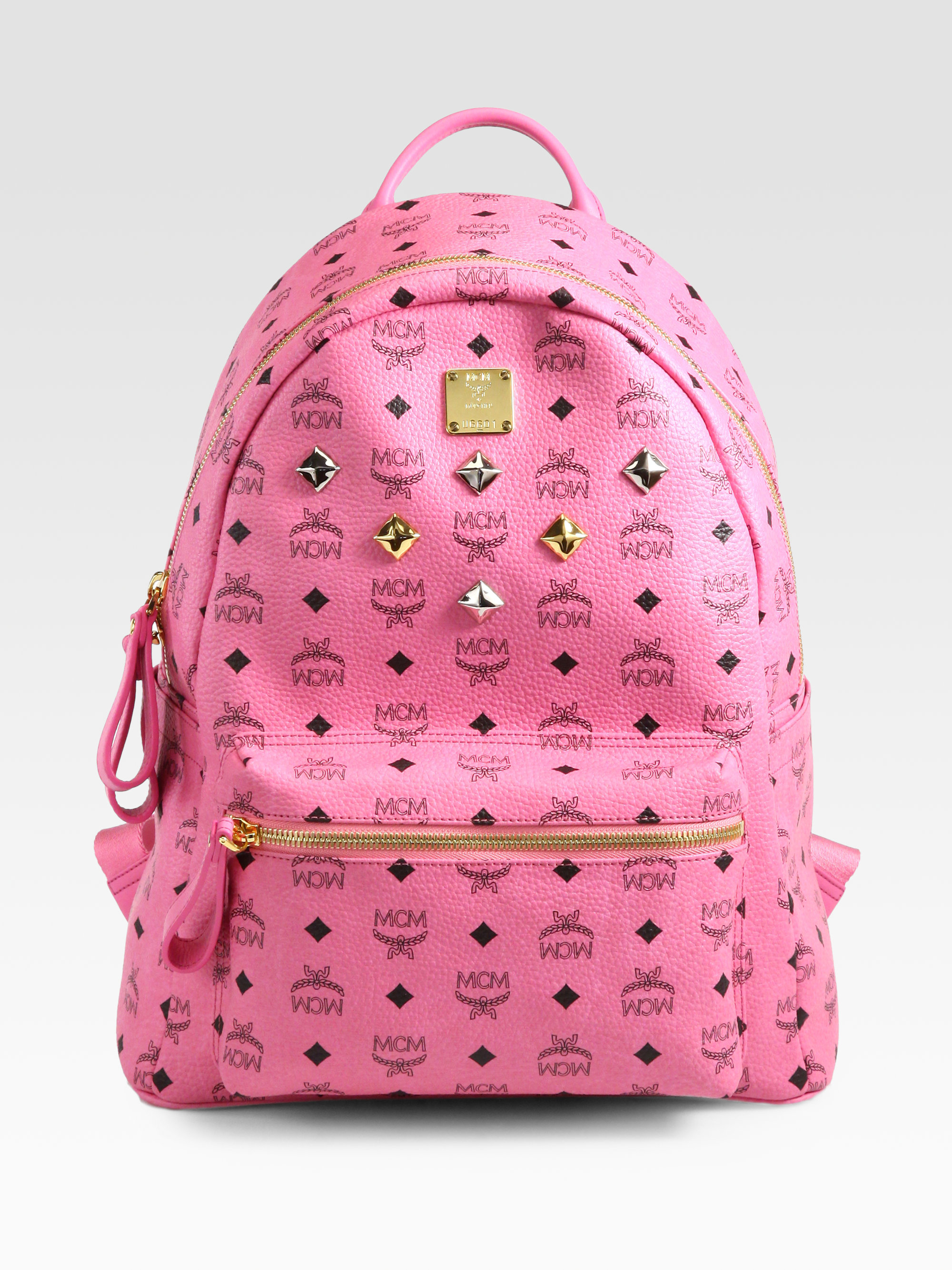 Mcm Stark Sprinkle Stud Medium Coated Canvas Backpack in Pink | Lyst