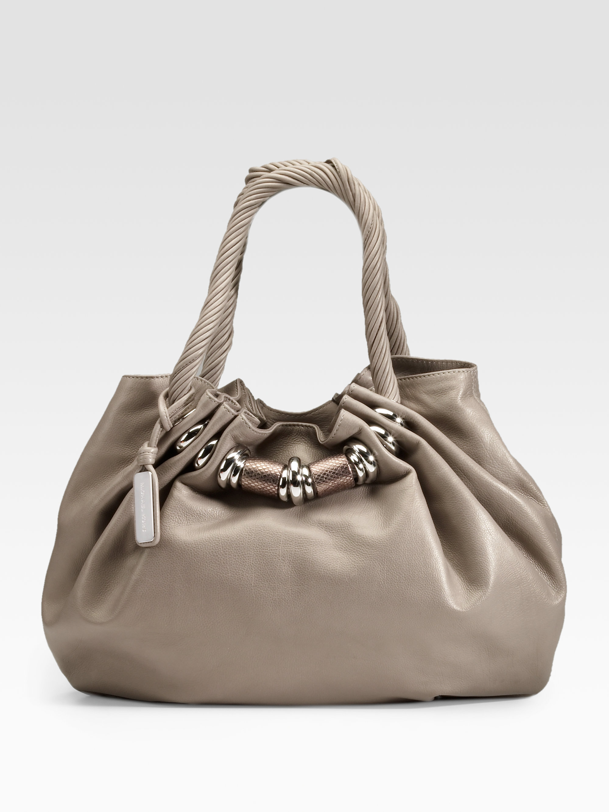 Best Price Michael Kors Tonne Totes - Bags Michael Kors Tonne Large Gathered Leather Tote Grey