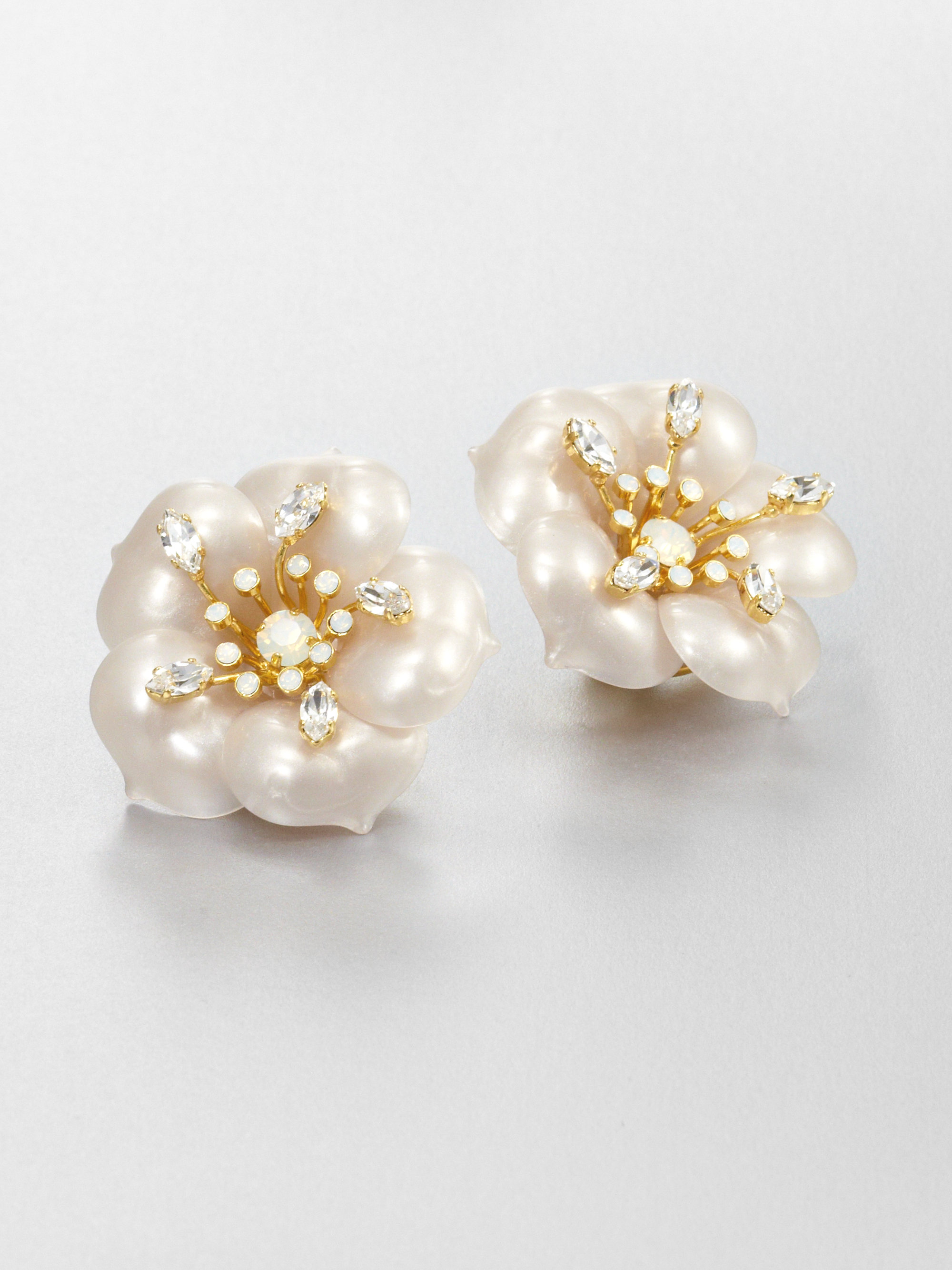 Lyst Miu Miu Flower Clipon Earrings In White