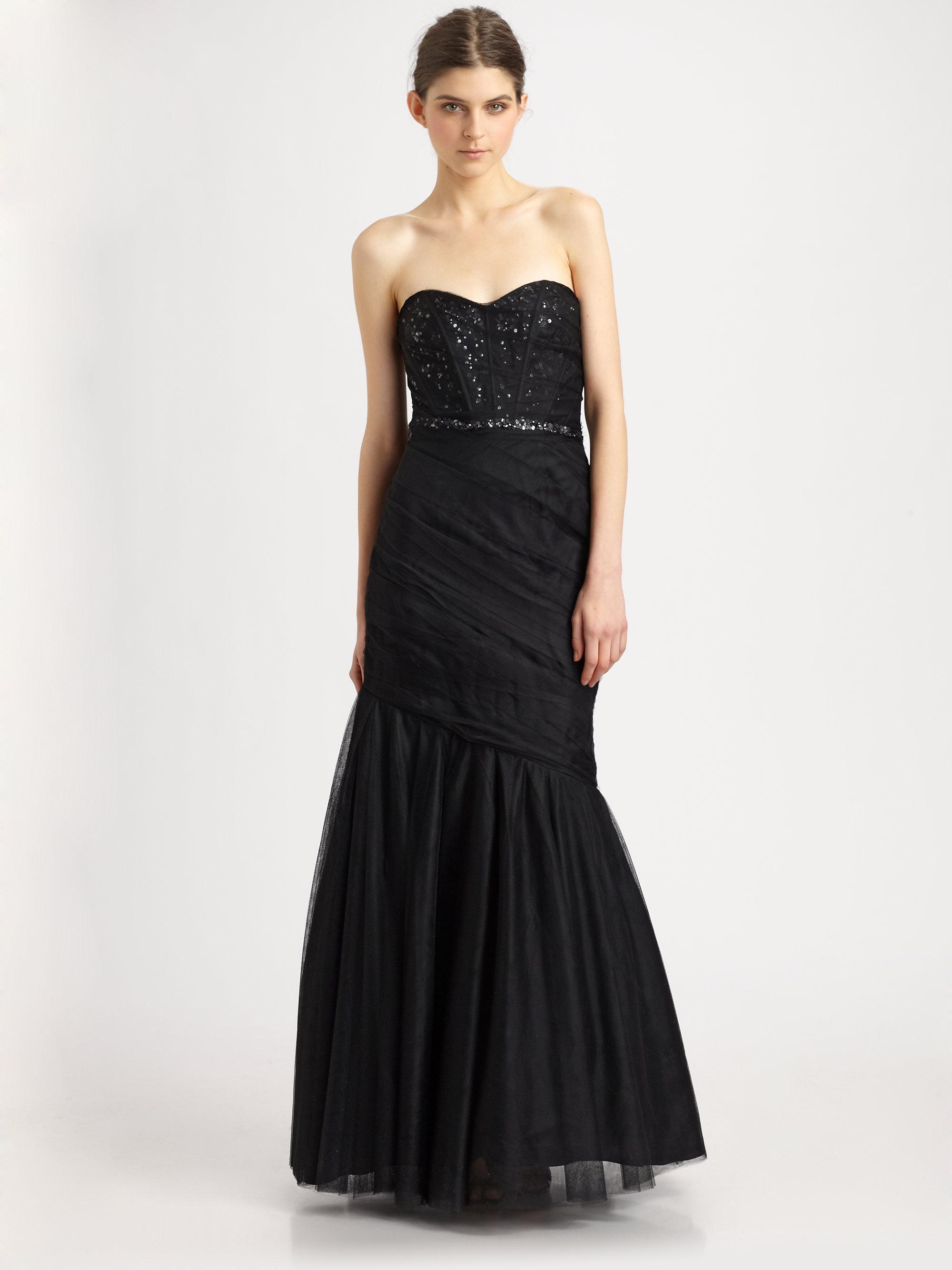 Lyst - ML Monique Lhuillier Strapless Gown in Black