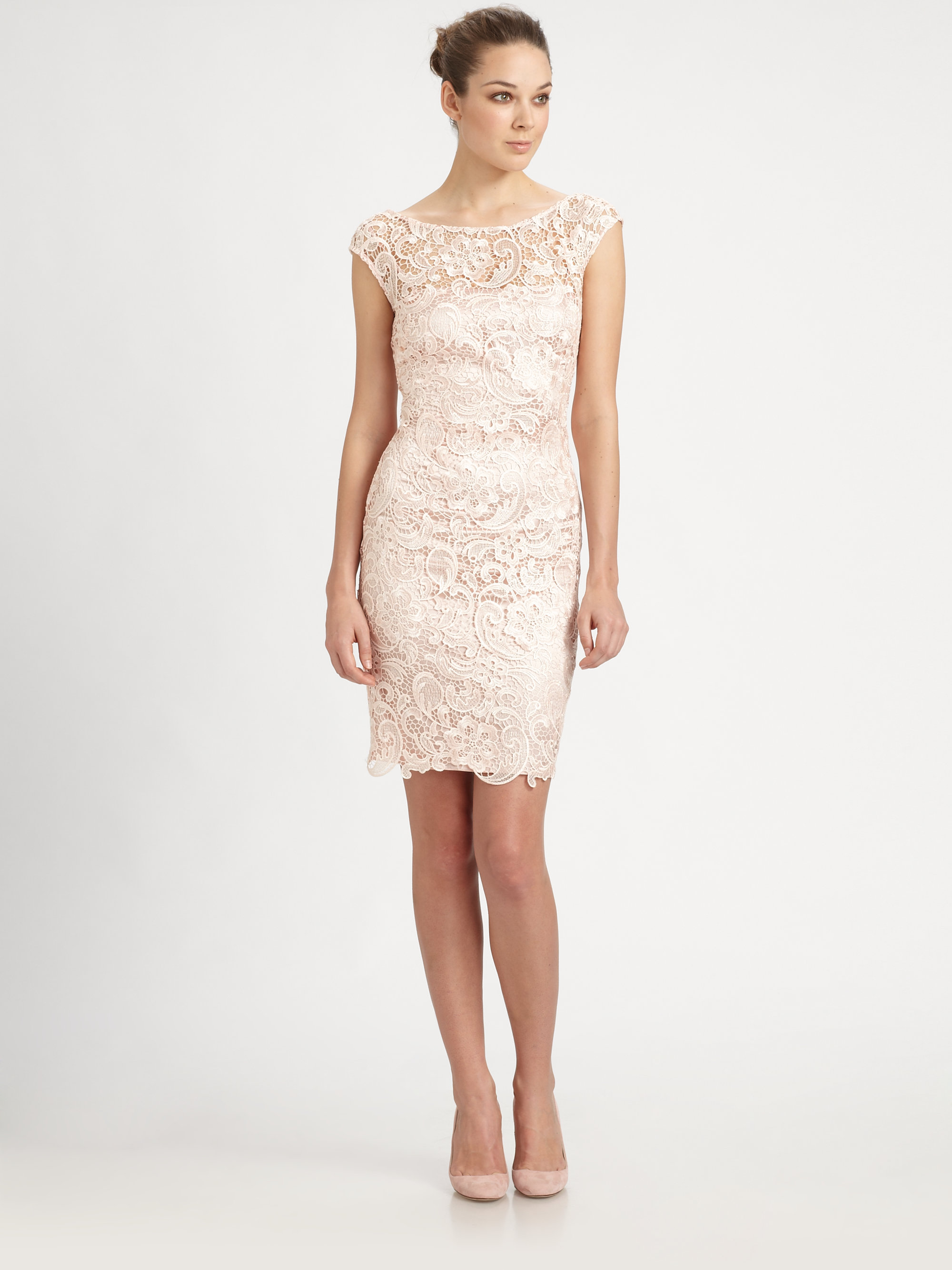 Ml monique lhuillier Venise Lace Dress in Pink | Lyst