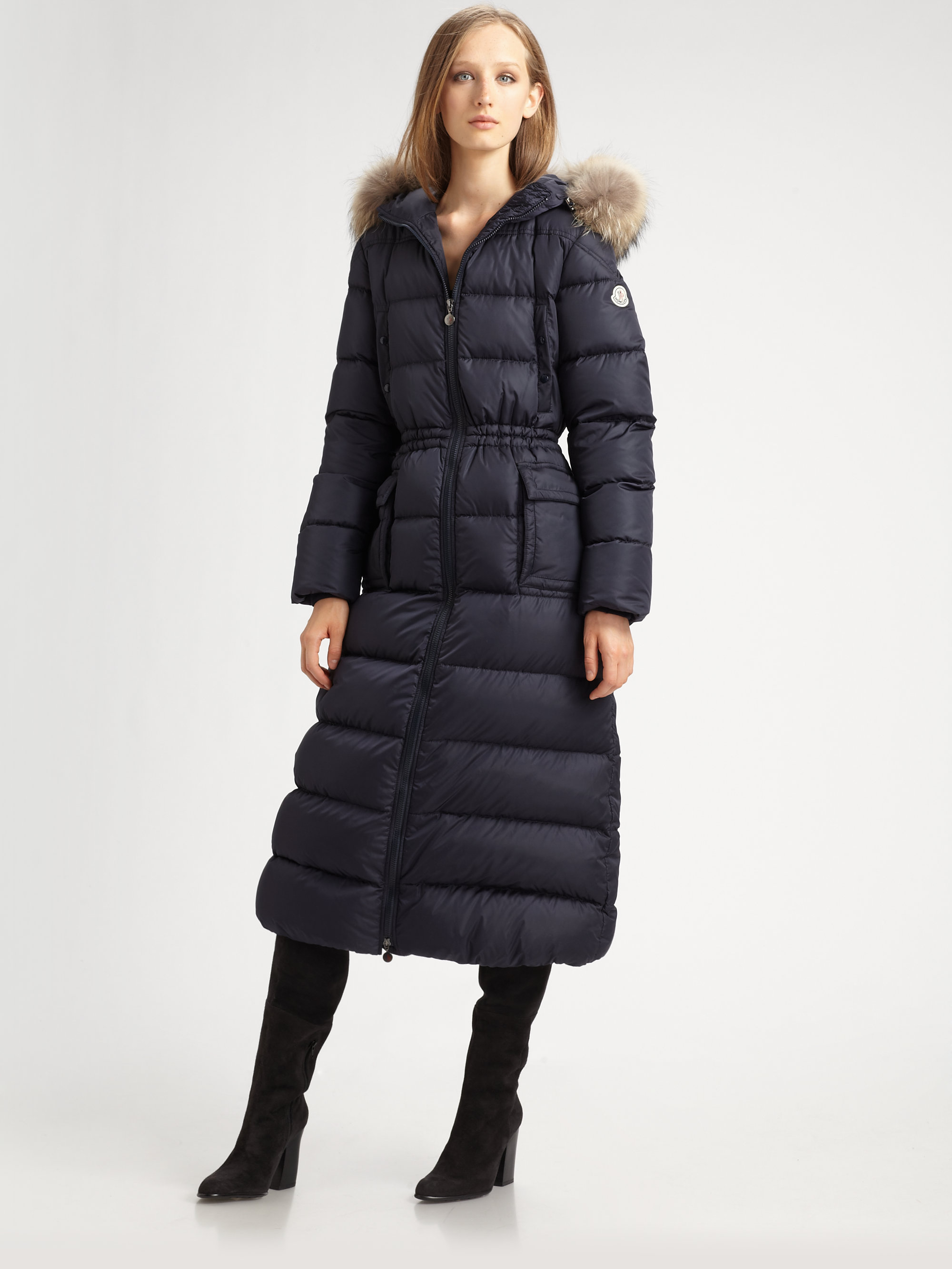 7cbfde50eb9d ... clearance lyst moncler long furtrimmed puffer coat in black 99dac 14ccf