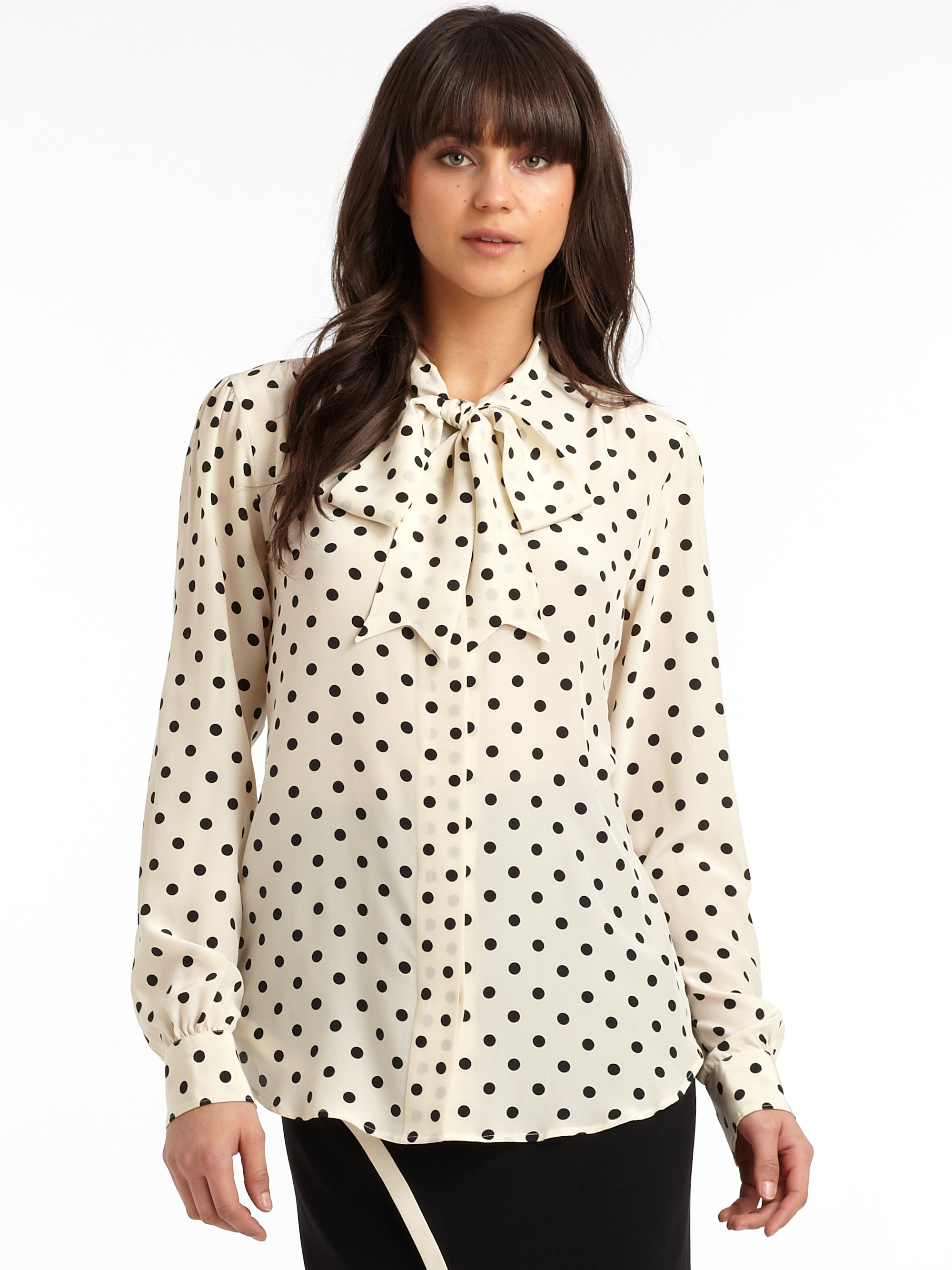 Magnifiek Lyst - Moschino Silk Polka Dot Tie Neck Blouse in Black &IJ56