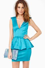 Nasty Gal Bardot Peplum Dress Jade - Lyst