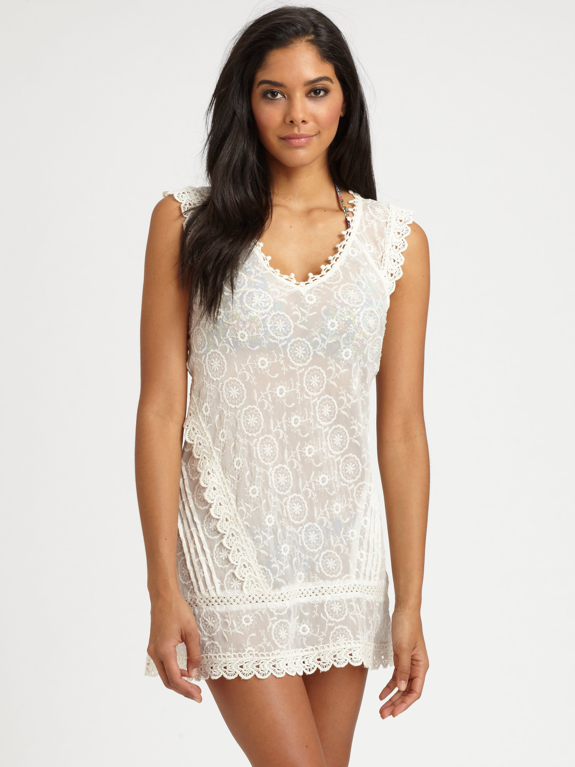 Ondademar embroidered beach dress in white natural lyst