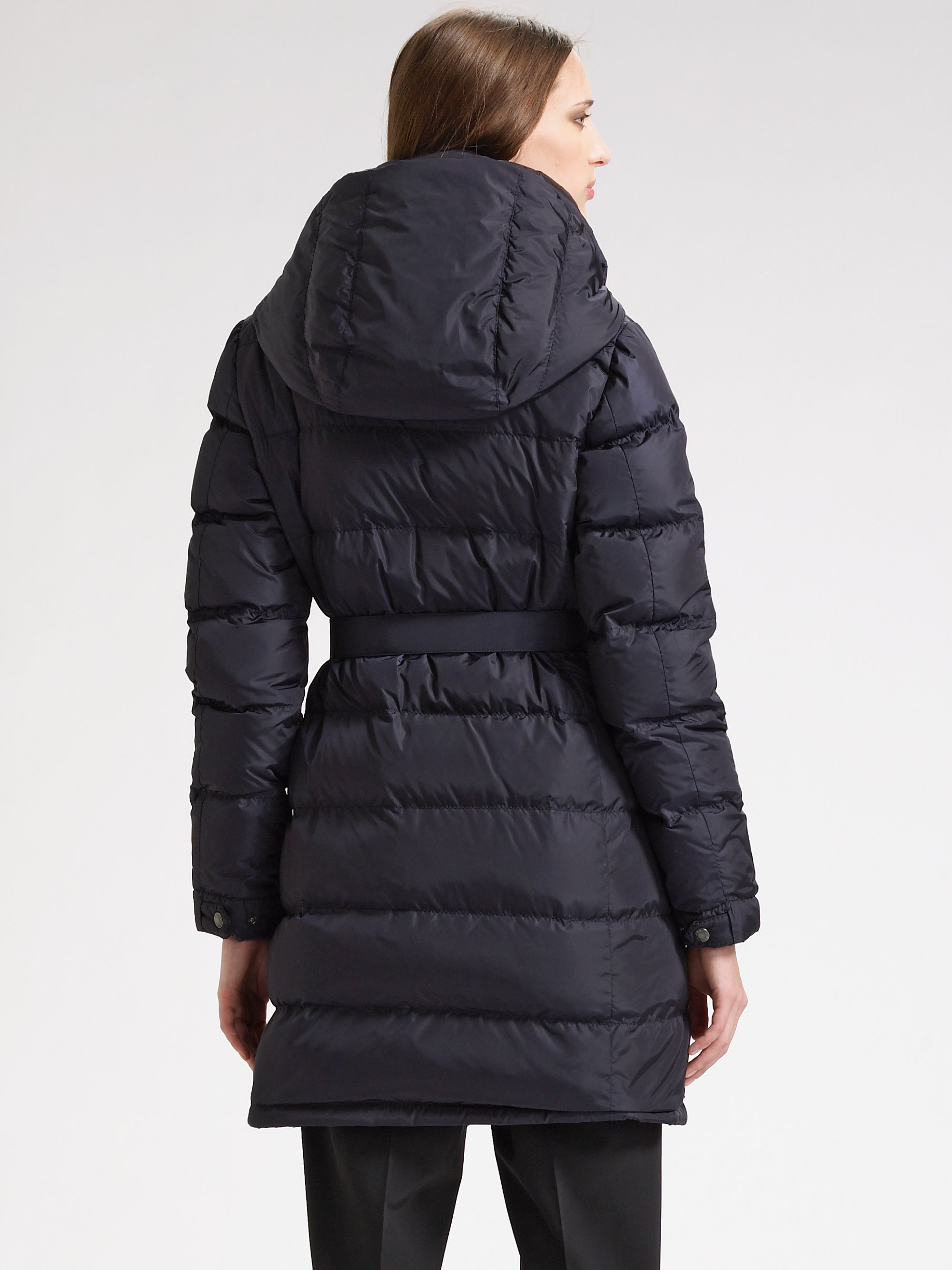 Prada Quilted Belted Down Jacket In Blue Lyst