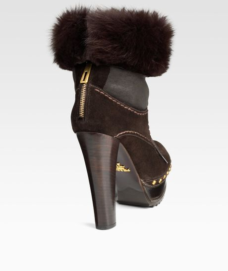 prada laceup suede ankle boots with fur cuff in brown lyst
