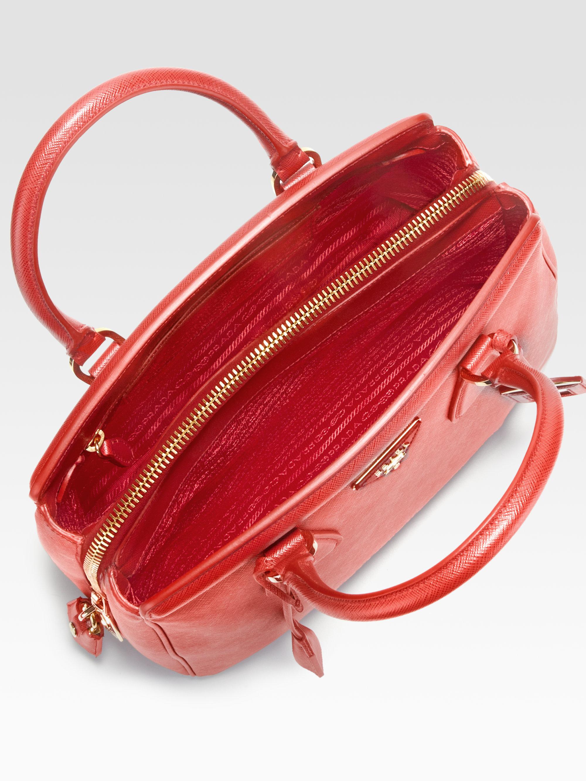 Prada Saffiano Zip Promenade Top Handle Bag in Red (fuoco-red)   Lyst
