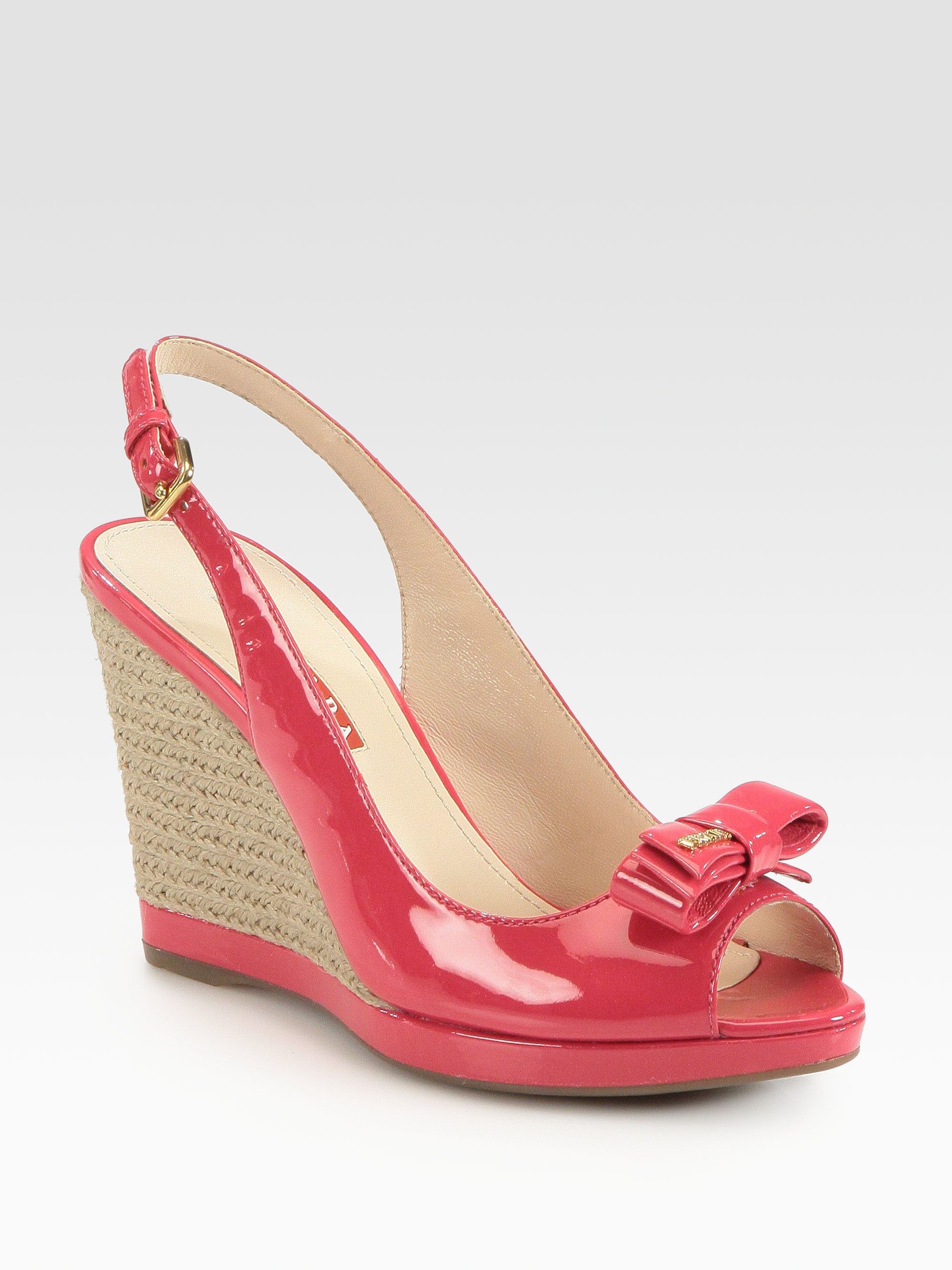 prada patent leather bow espadrille wedge sandals in pink