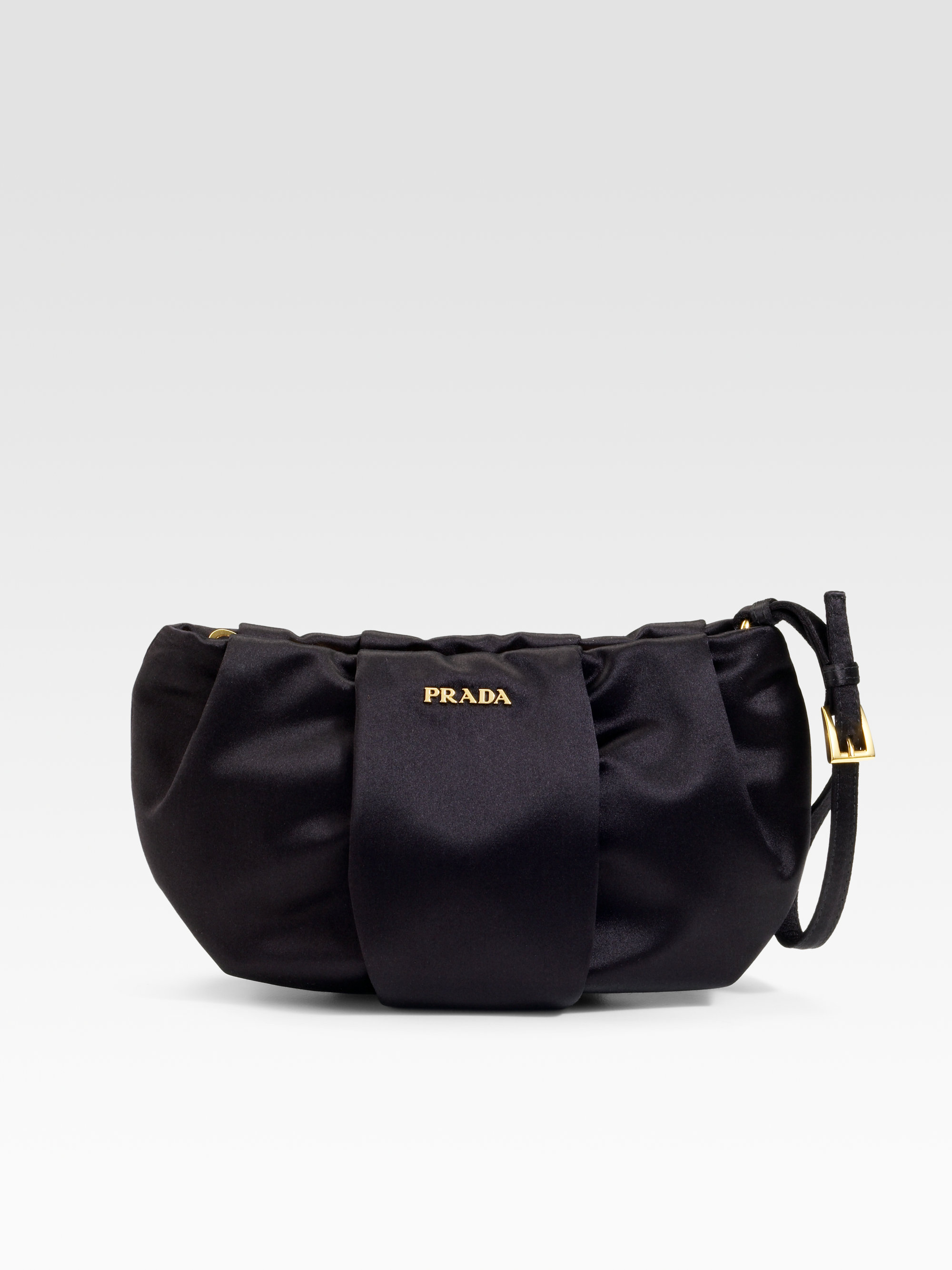 956376b97e37 Lyst - Prada Satin Wristlet in Black