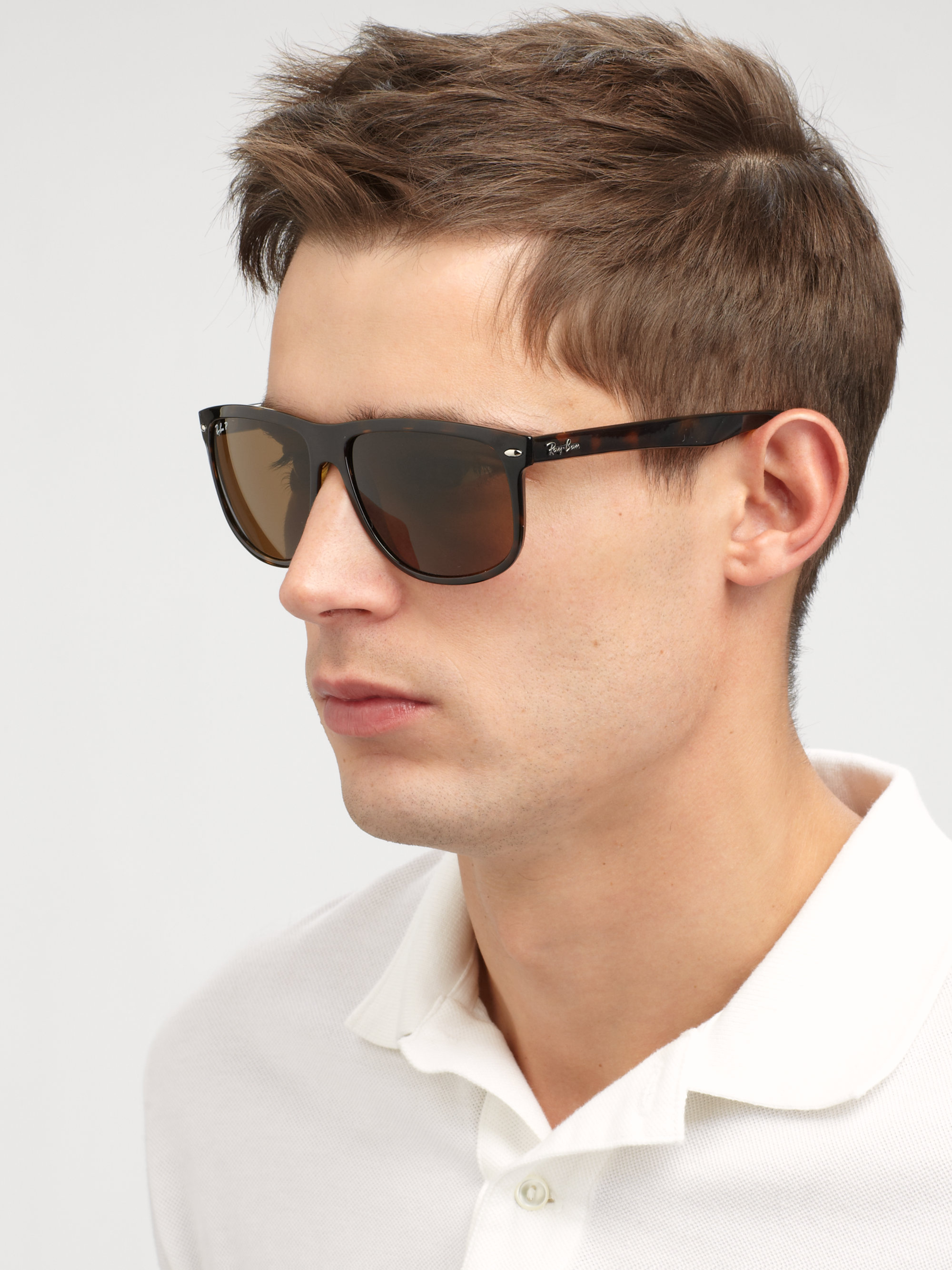 Ray Ban Flat Top Boyfriend Wayfarer Sunglasses In Brown