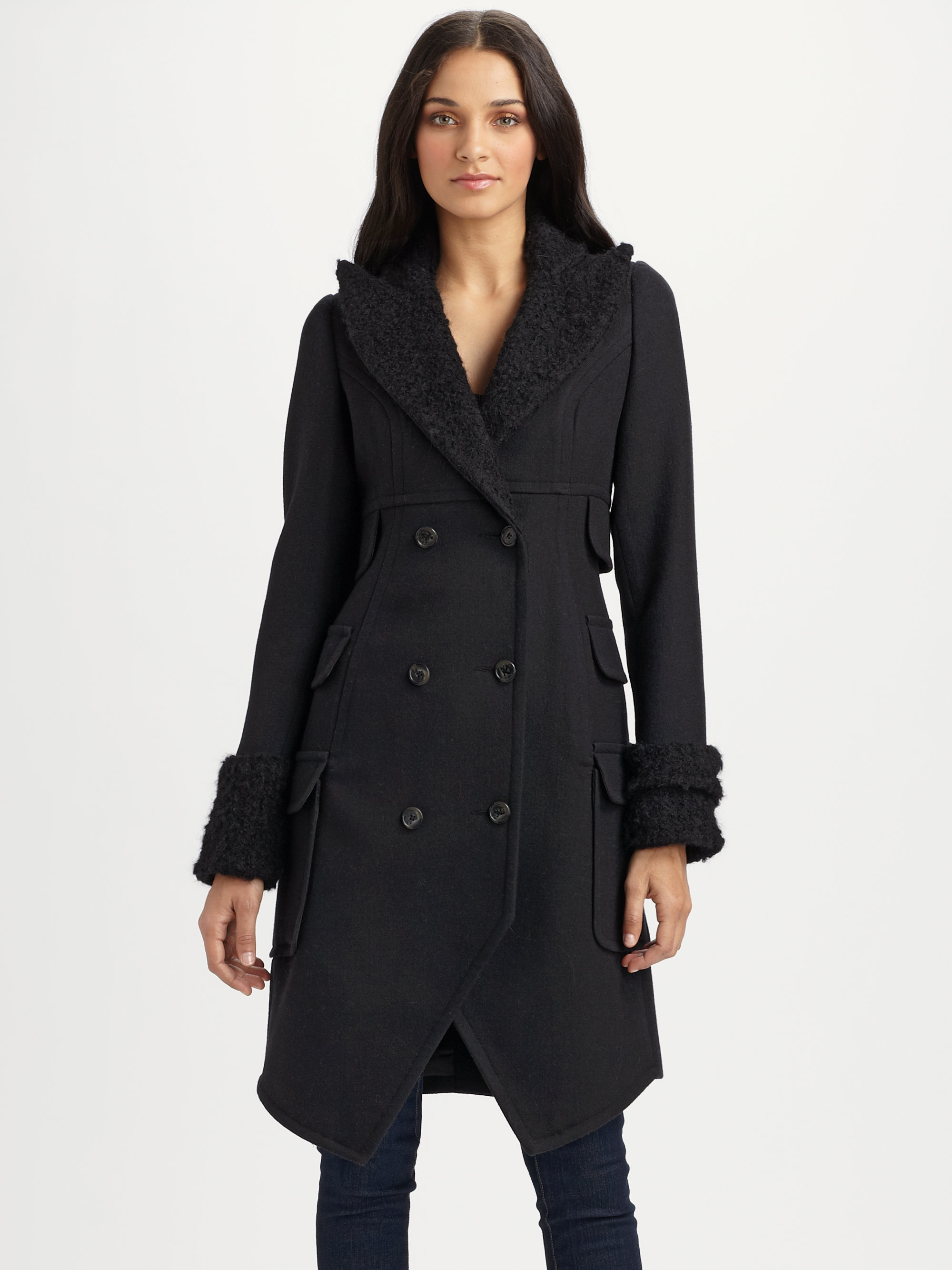 Smythe Wool Midi Coat In Black Lyst