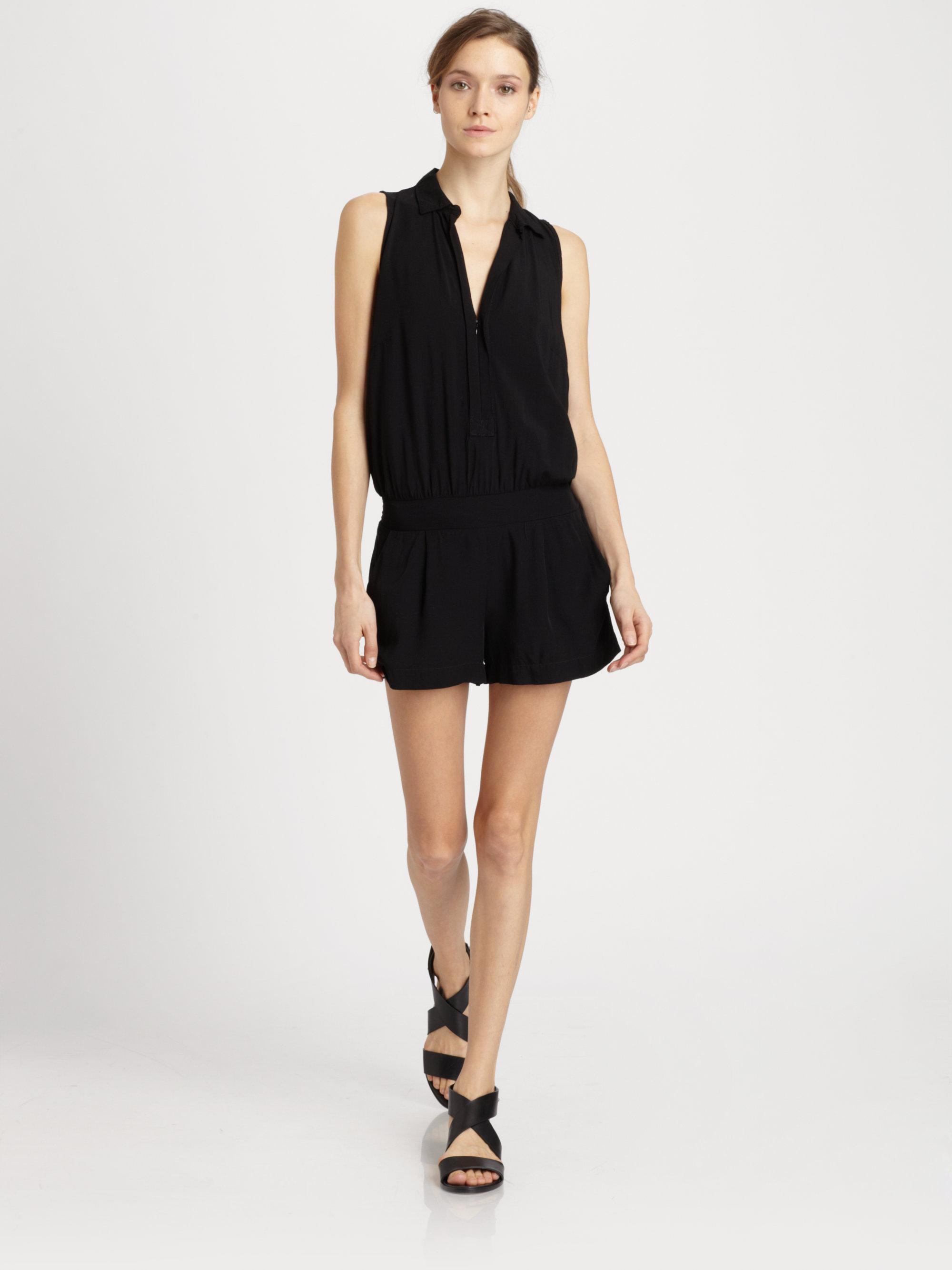 Lyst - Splendid Sleeveless Short Jumpsuit in Black