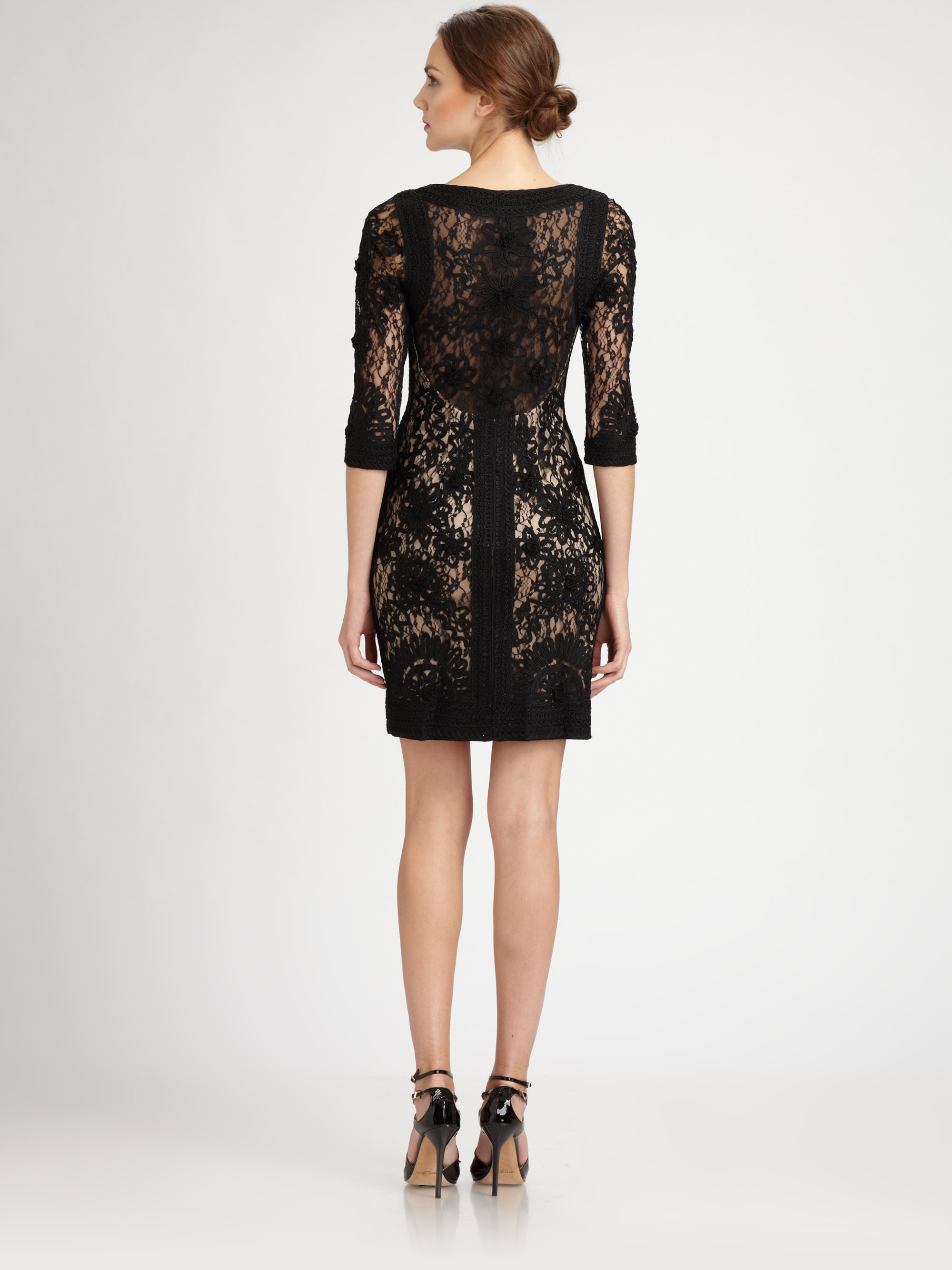 Lyst sue wong embroidered lace dress in black for Sue wong robes de mariage