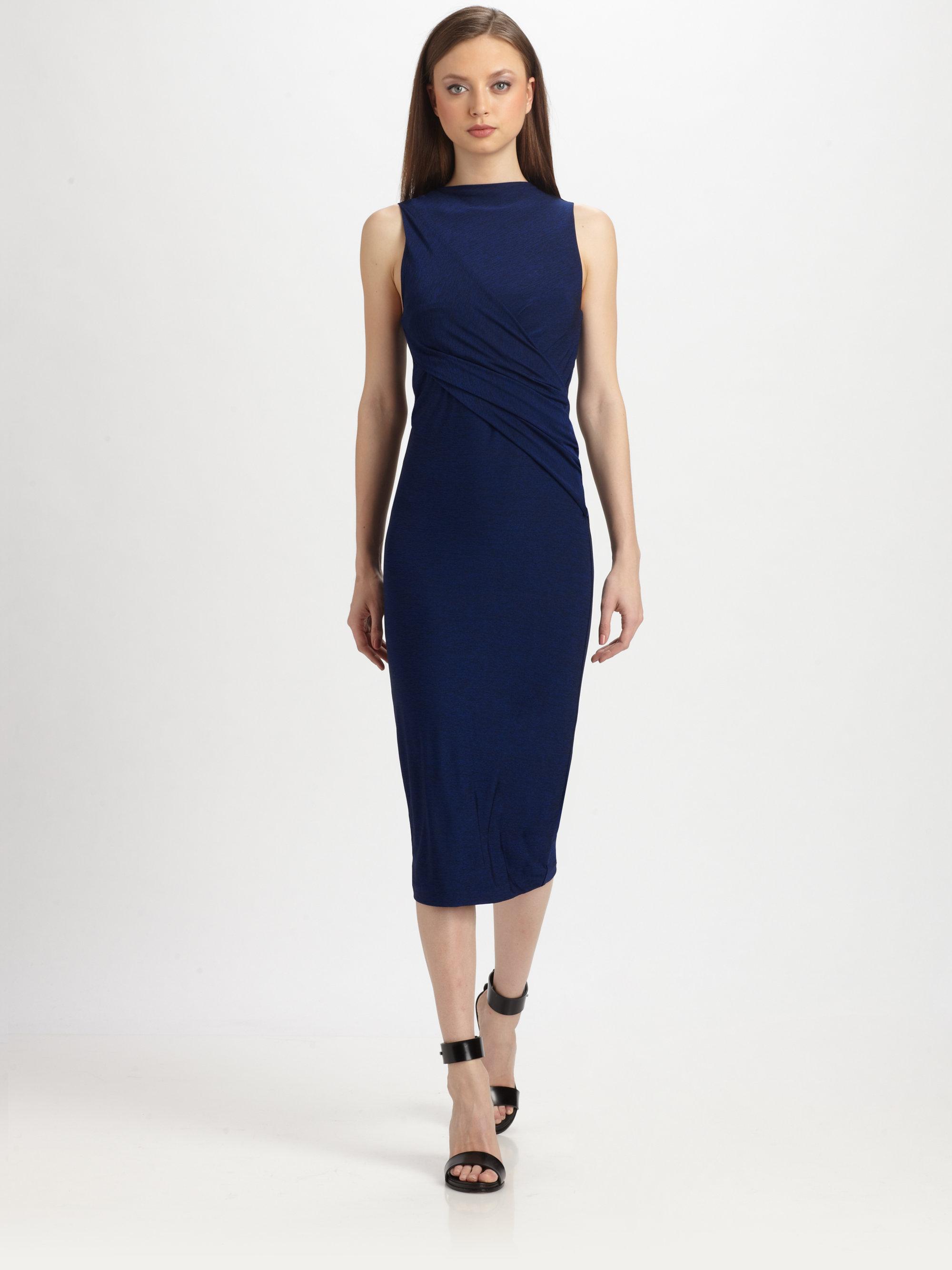 3e8b4a64337 T By Alexander Wang Draped Stretch Jersey Dress in Blue - Lyst
