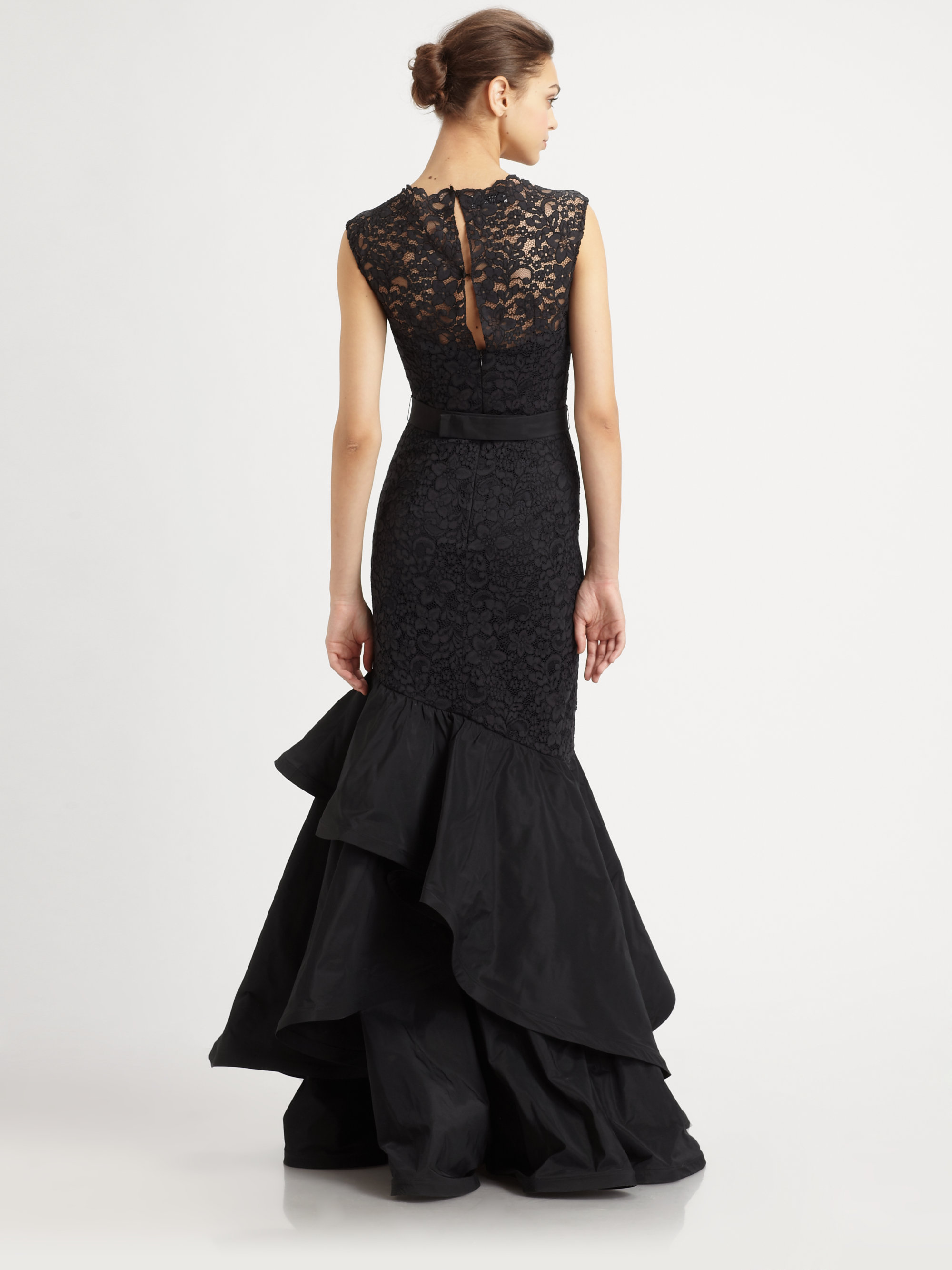 Teri jon Lace-trimmed Taffeta Gown in Black | Lyst