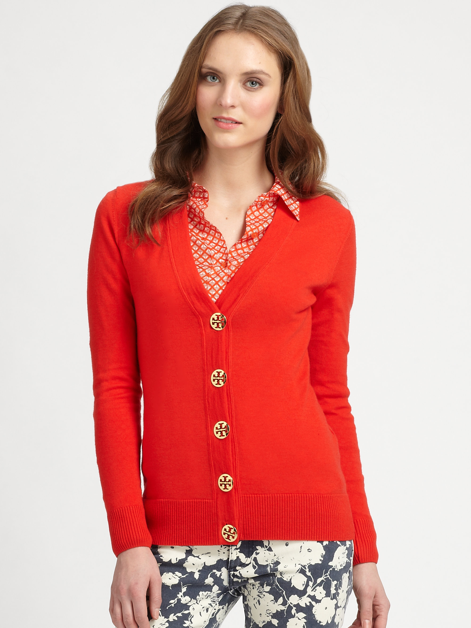 Tory burch Simone Merino Wool Cardigan in Red | Lyst