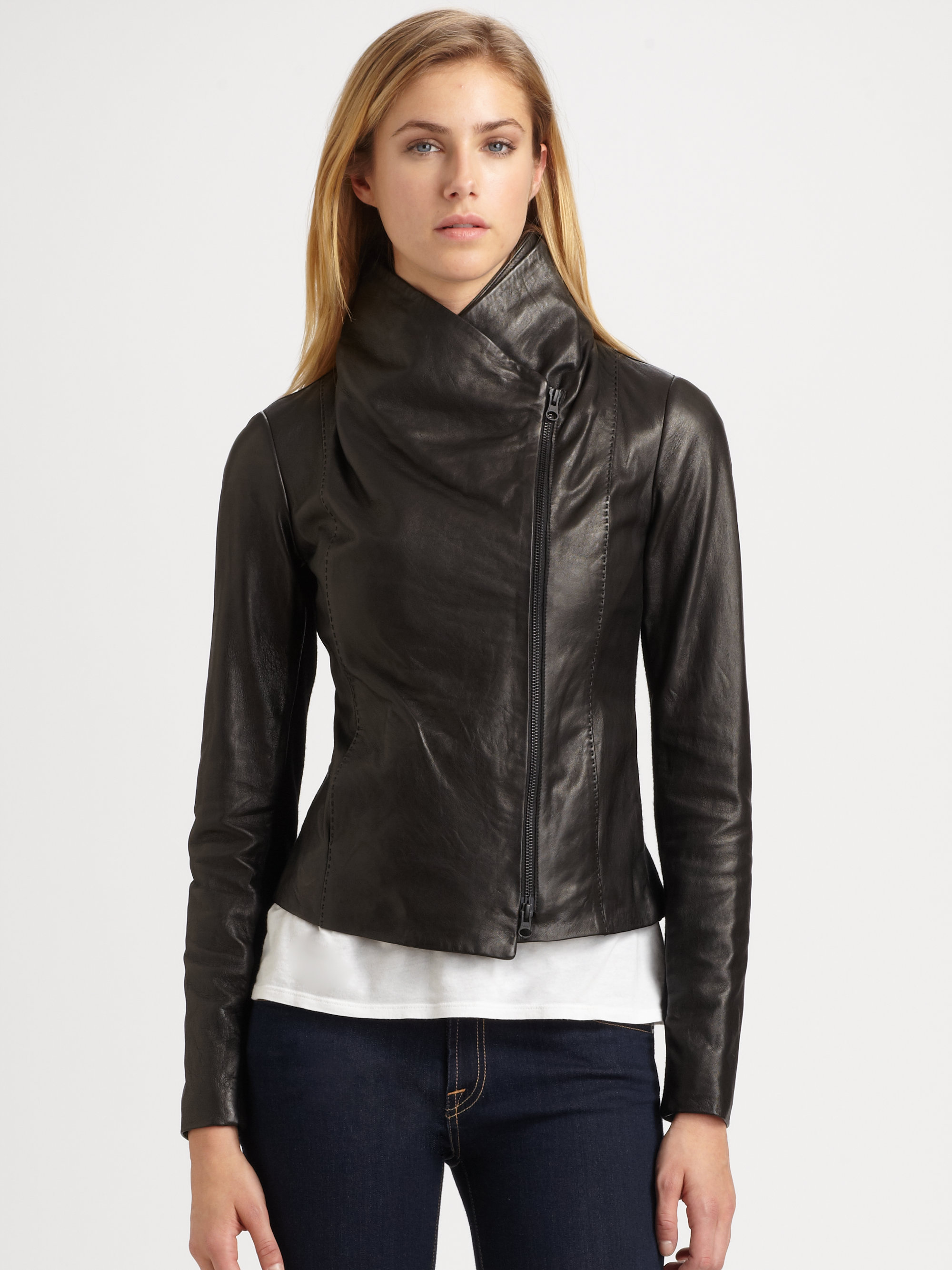Lyst Vince Scuba Leather Jacket In Black