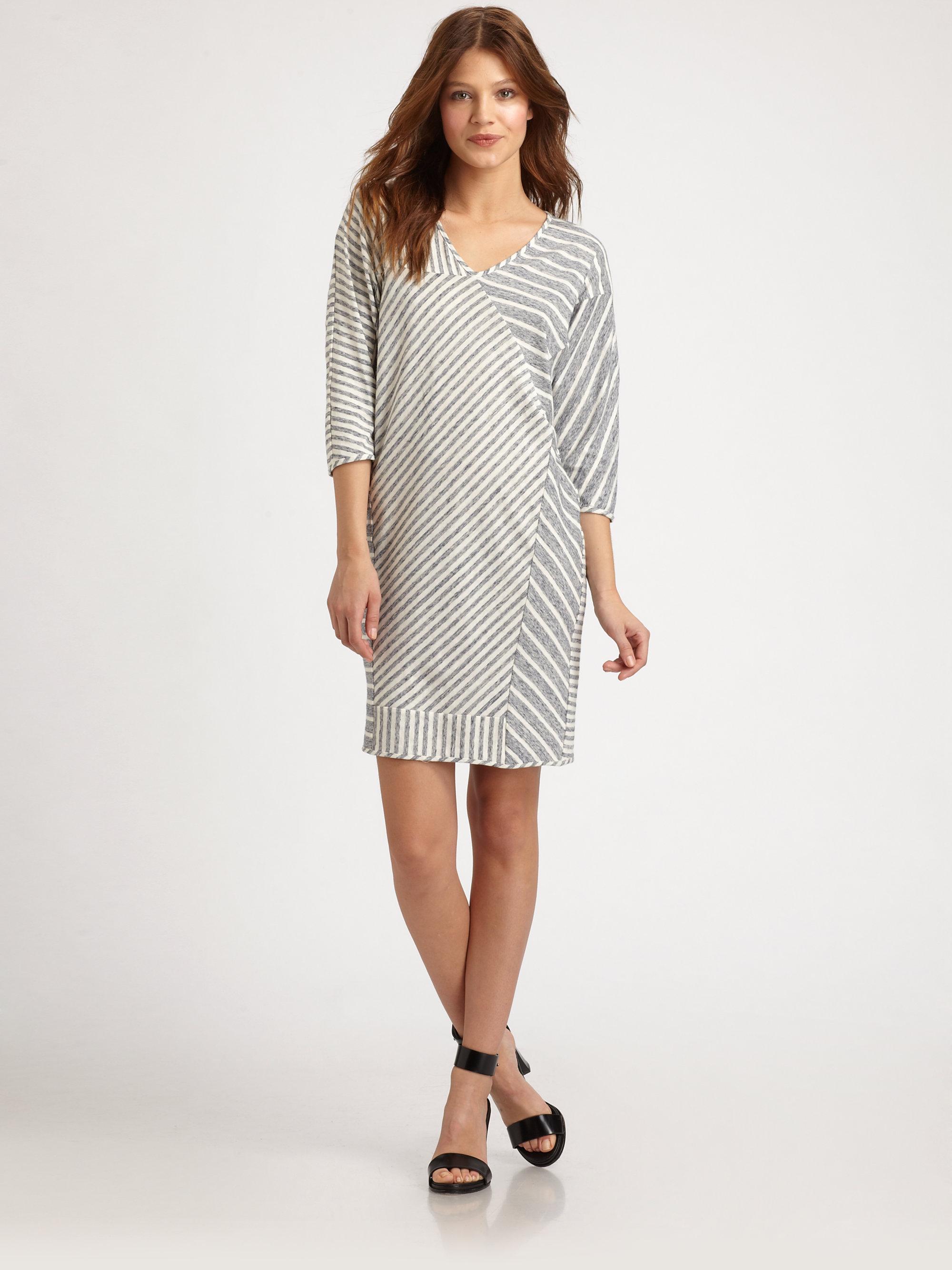 10 Crosby Derek Lam Asymmetrical Striped Dress In Gray