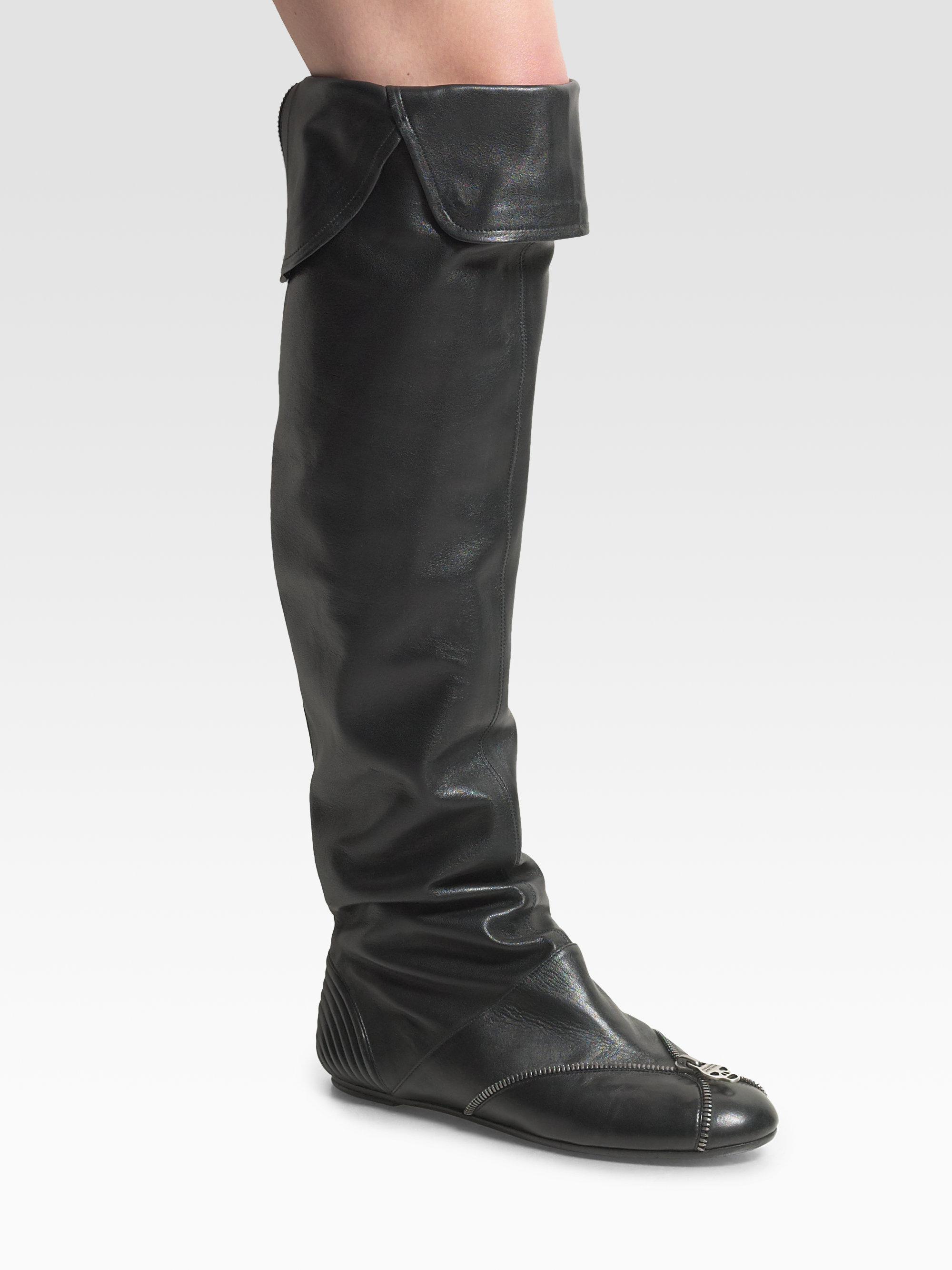 Alexander Mcqueen Over The Knee Flat Boots In Black Lyst