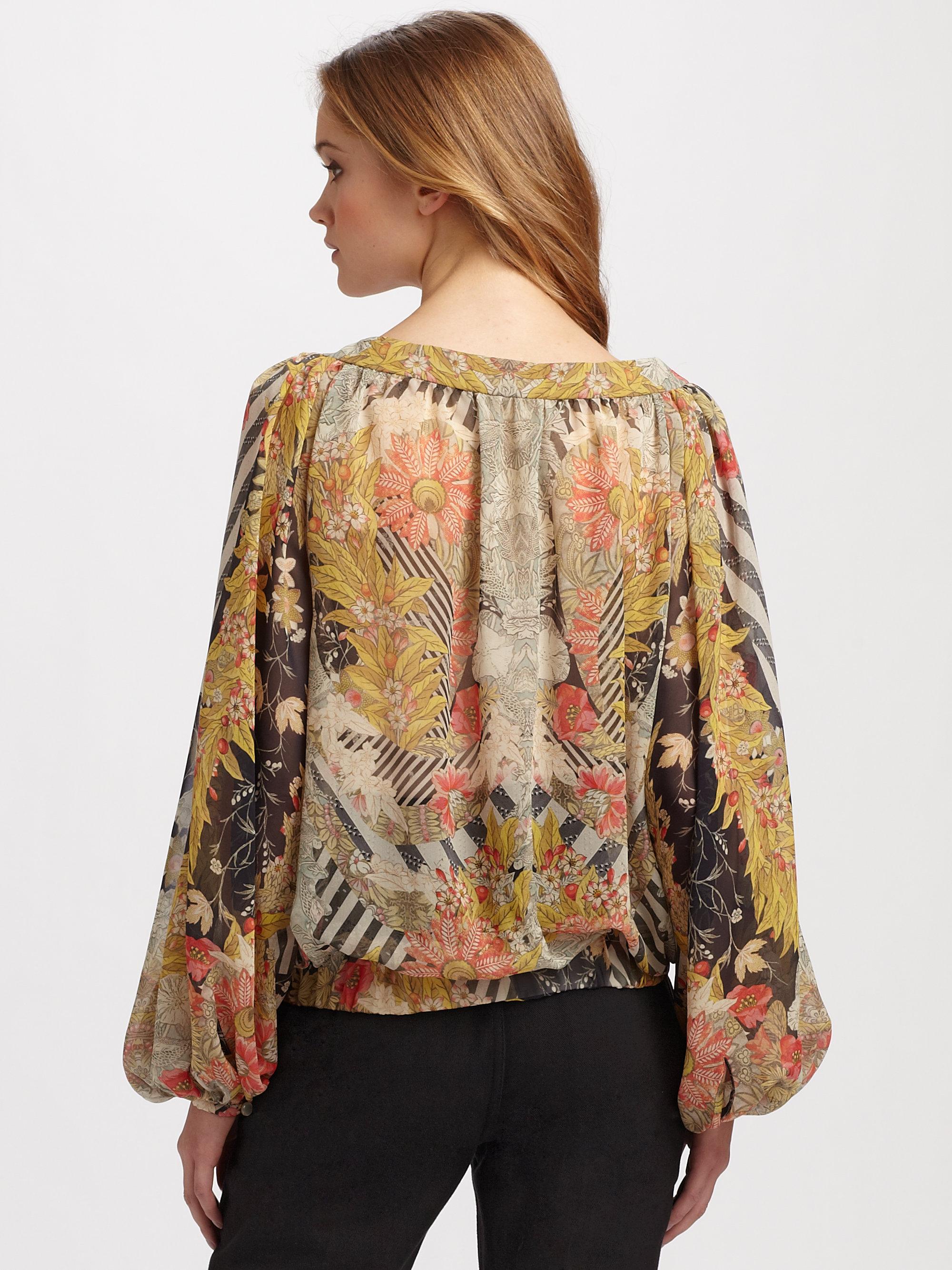 f4aa2a10ebc3d0 Lyst - Alexander McQueen Silk Puff Sleeve Peasant Blouse in Brown