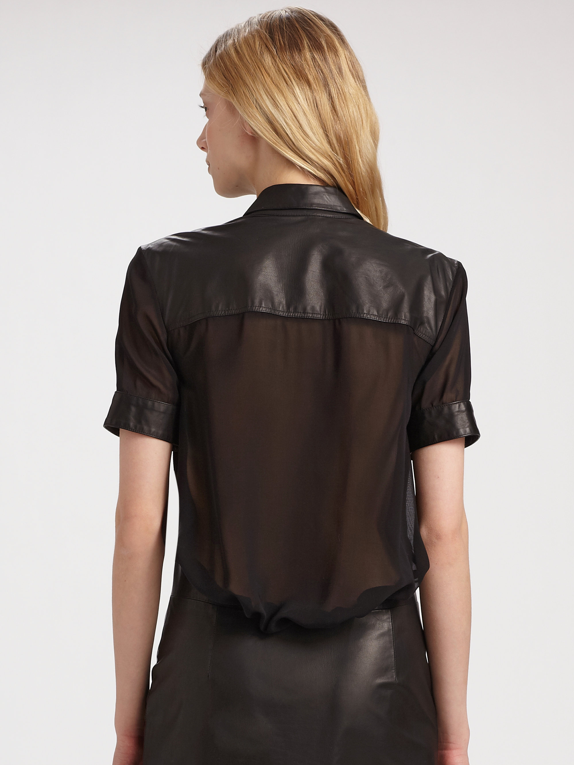 Alexander wang Leather Shirt Dress with Silk Back in Black | Lyst