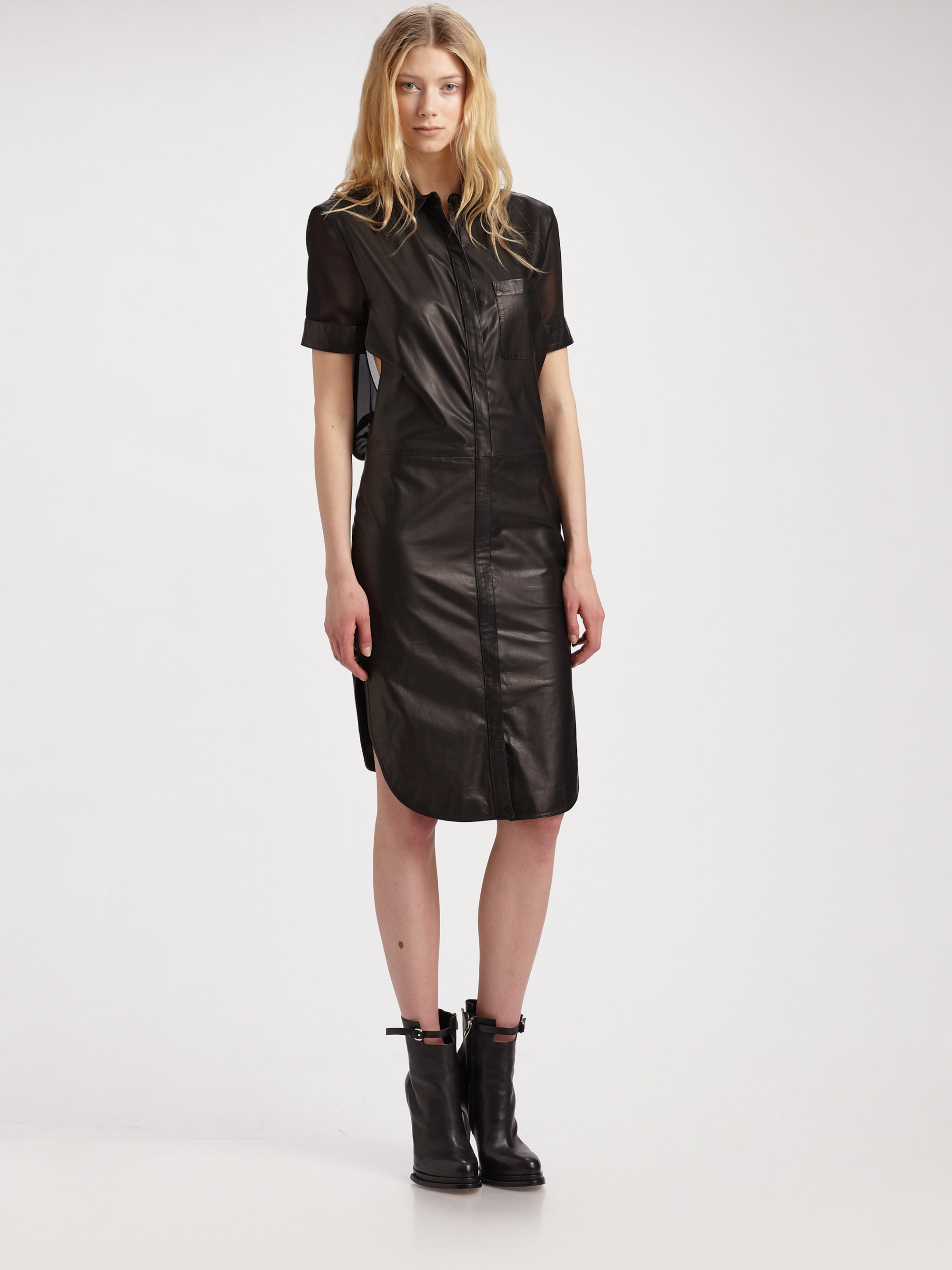 alexander wang leather shirt dress with silk back in black