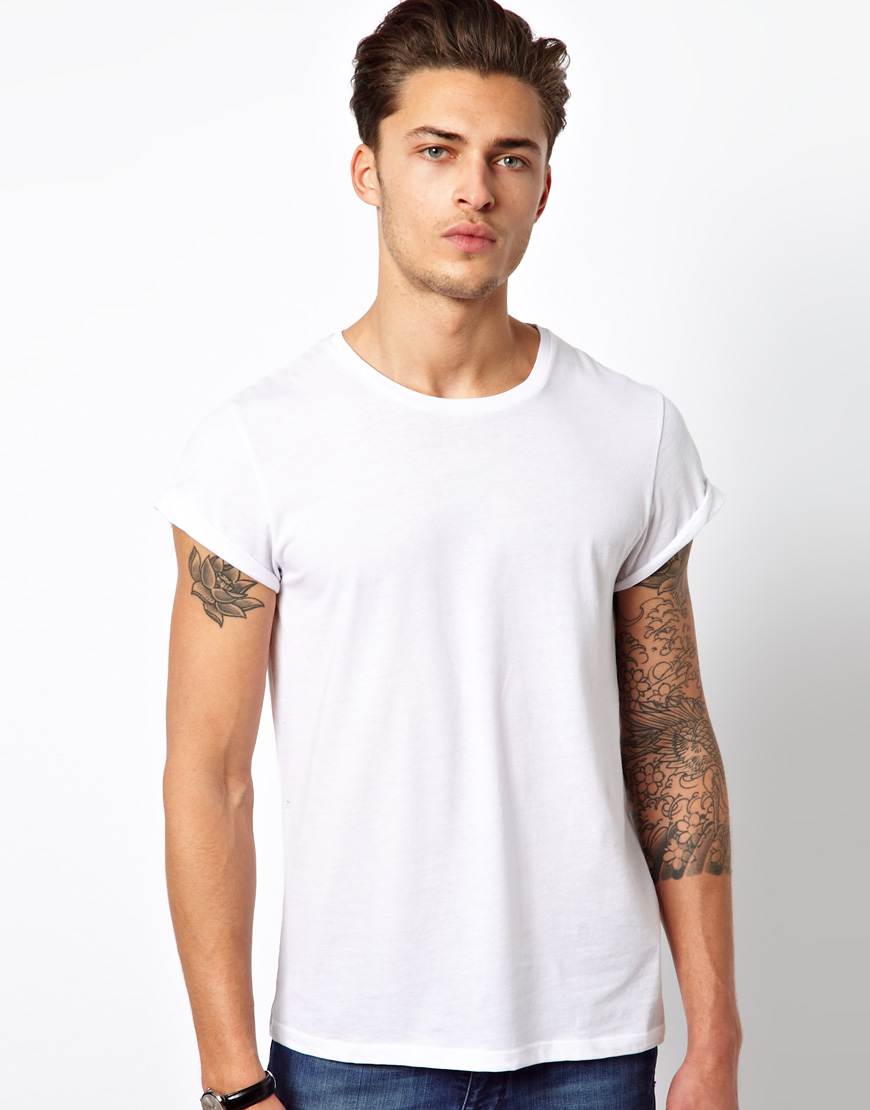Lyst asos t shirt with crew neck and roll sleeve in for Crew neck white t shirt