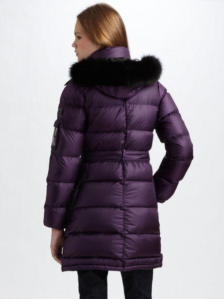Burberry Sport Furtrimmed Puffer Coat In Purple Lyst