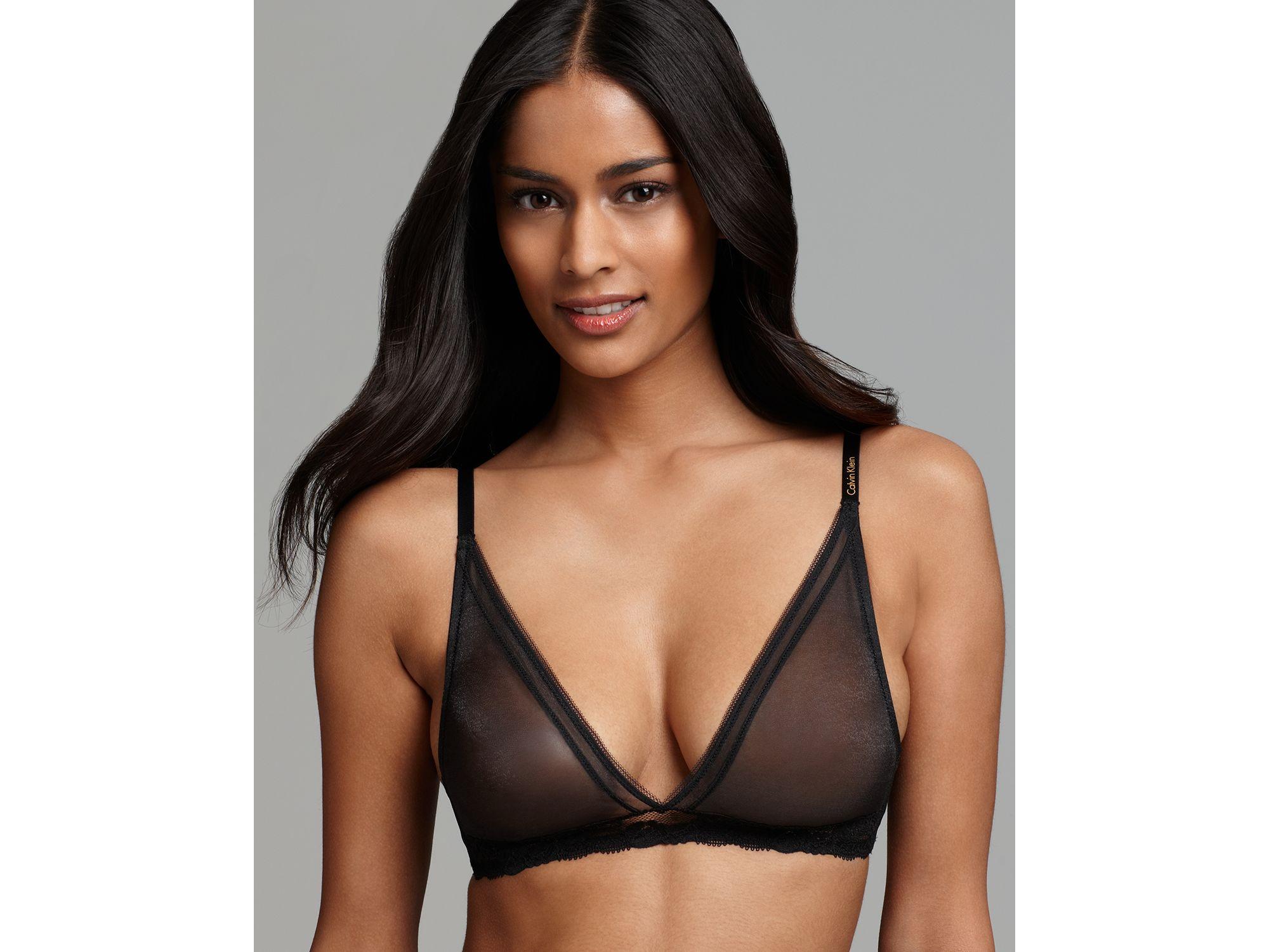 8bf4ca5f5a0ab Lyst - Calvin Klein Bralette Luster Triangle in Black