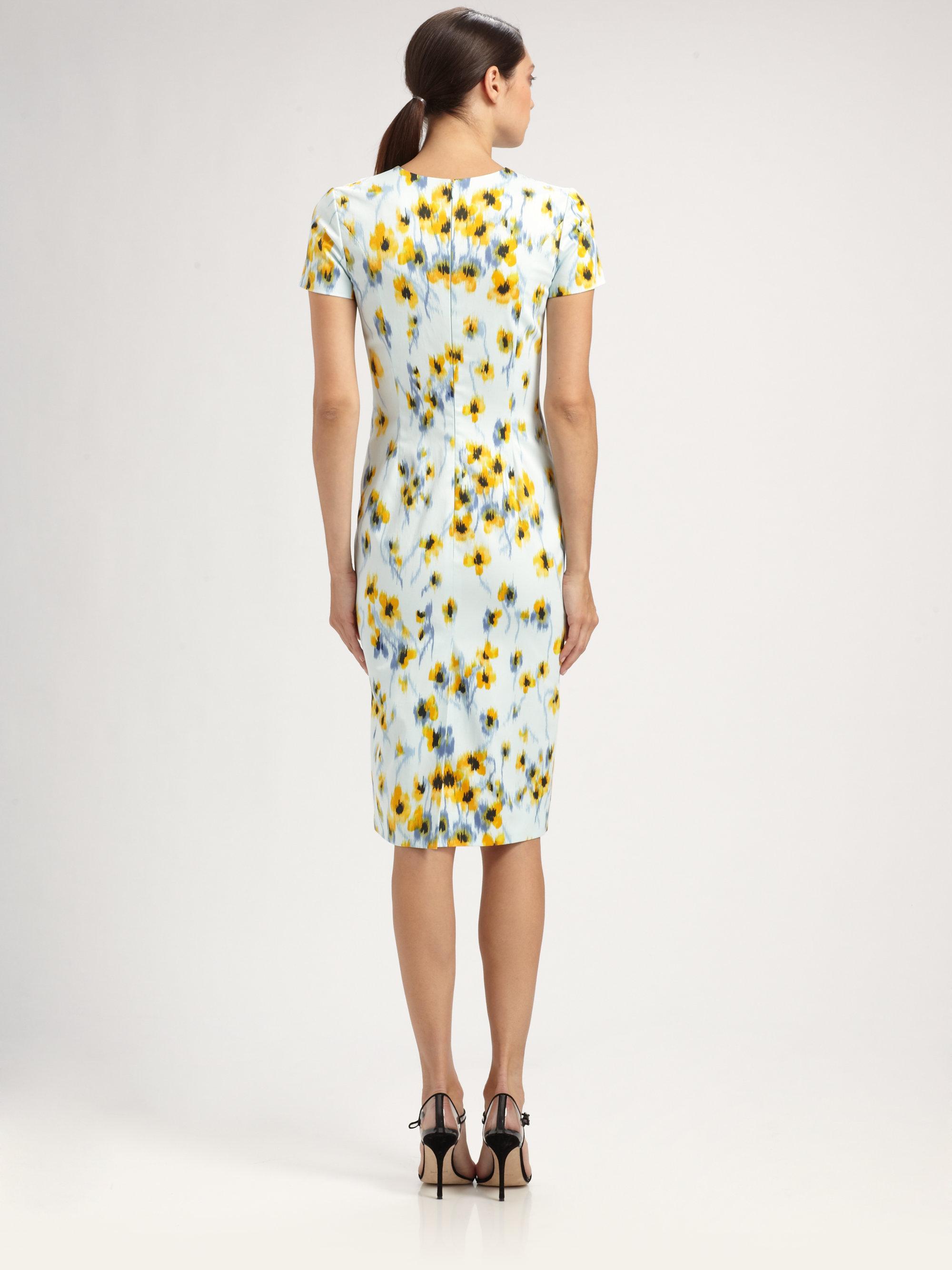 Lyst Carolina Herrera Floral Dress In Blue