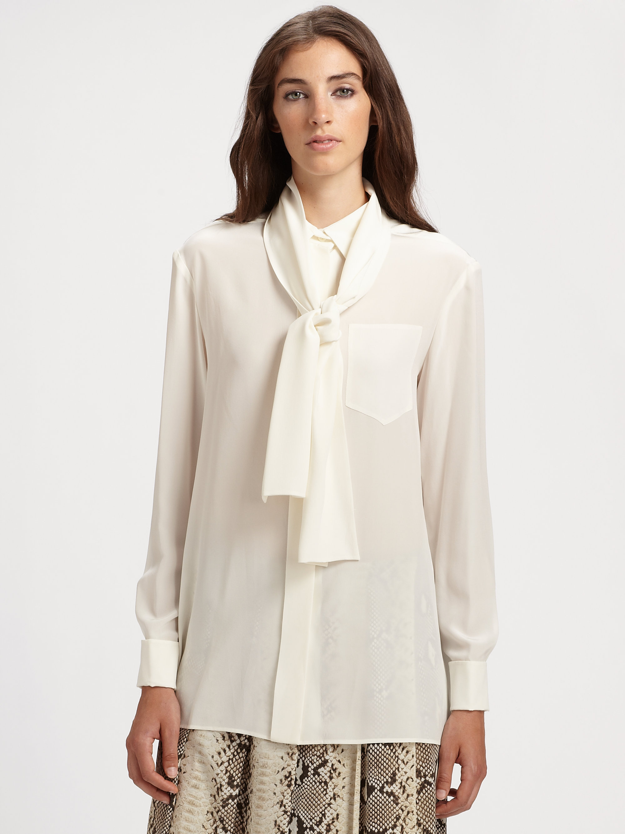 Chloé Silk Blouse in White | Lyst