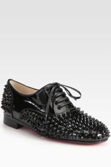 Christian Louboutin Freddy Studded Patent Leather Laceup Oxfords - Lyst