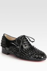 Christian Louboutin Freddy Studded Patent Leather Laceup Oxfords