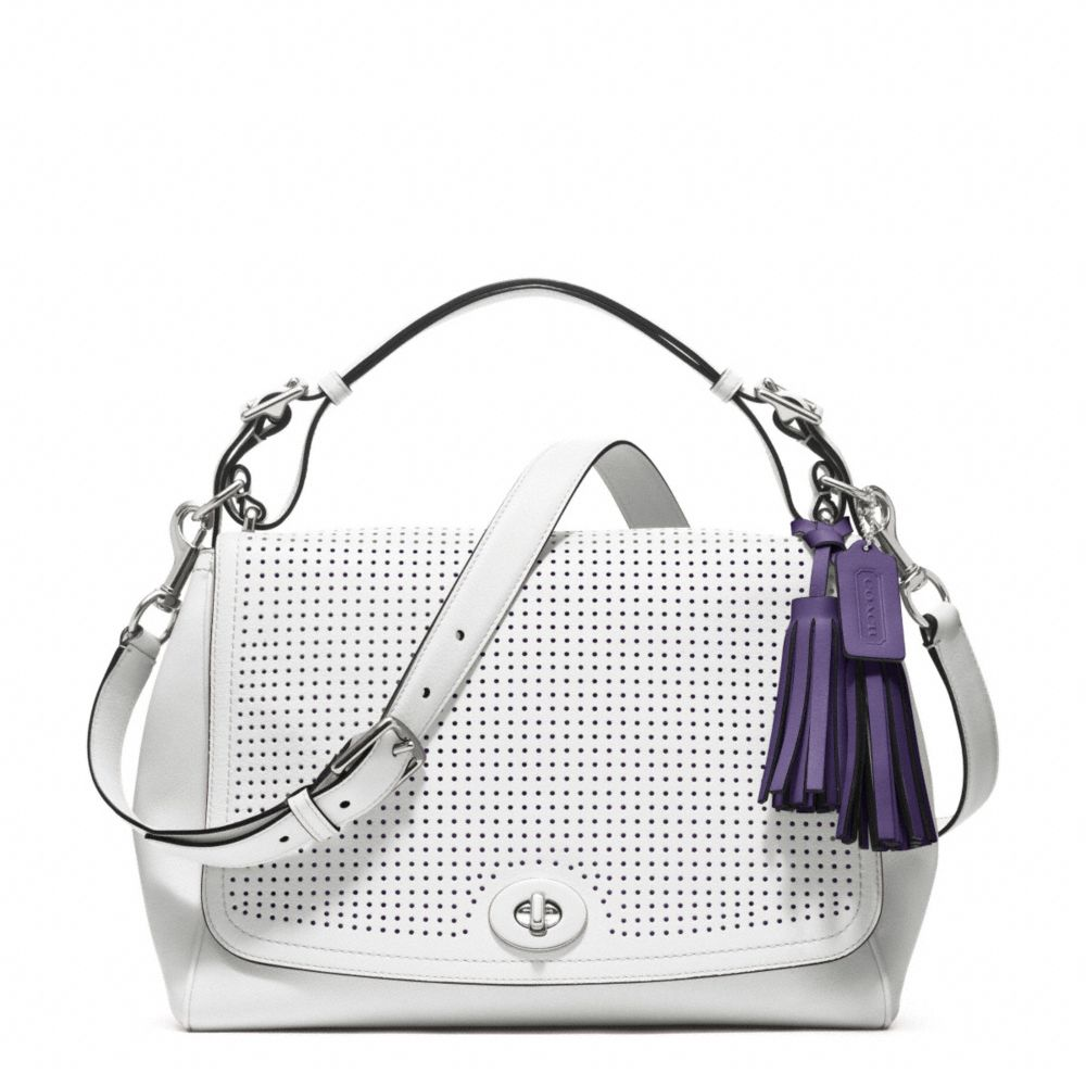 Lyst - COACH Legacy Perforated Leather Romy Top Handle in White b88f4c4dba50a
