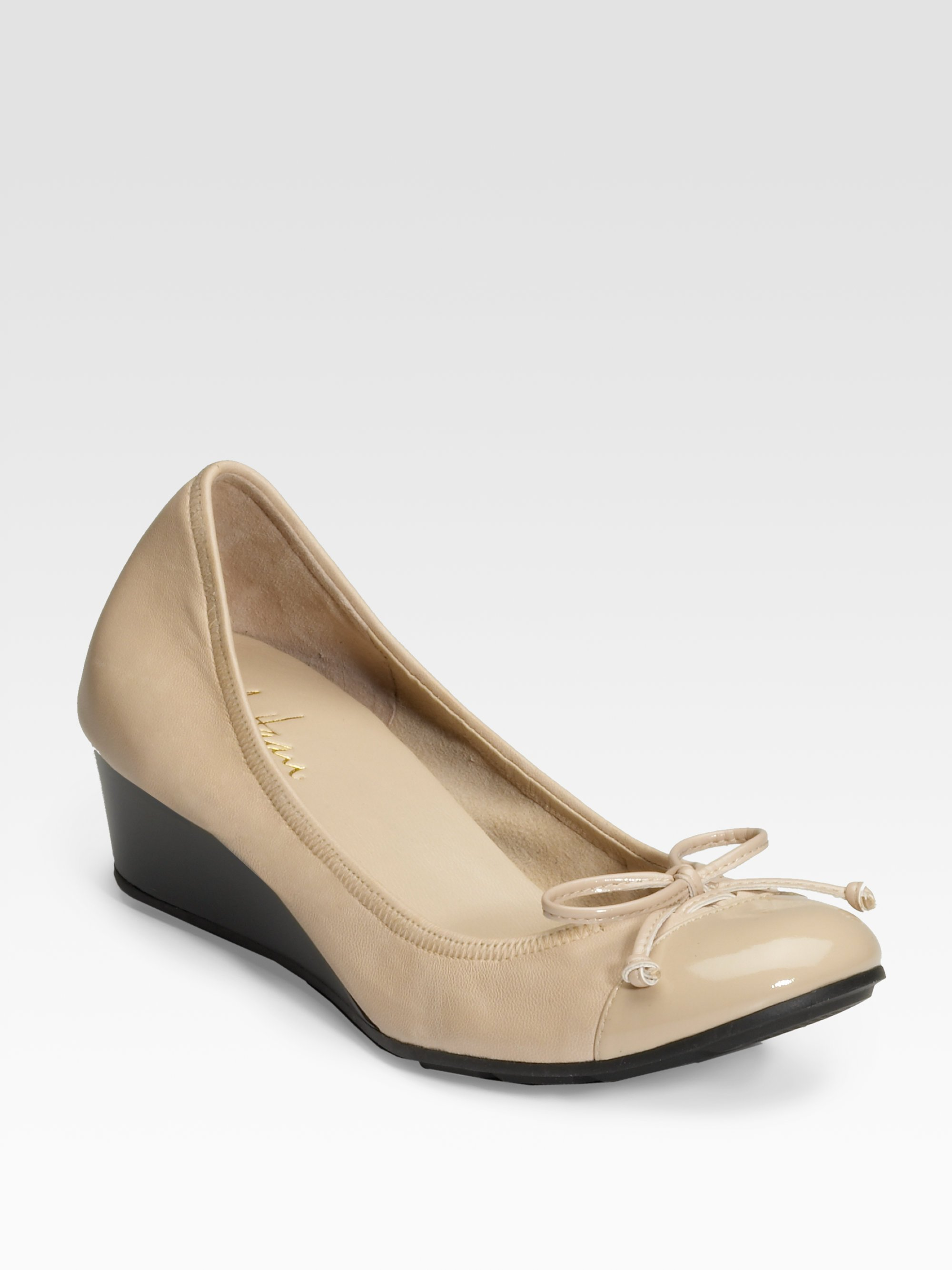 cole haan tali air patent trim wedge ballet flats in beige