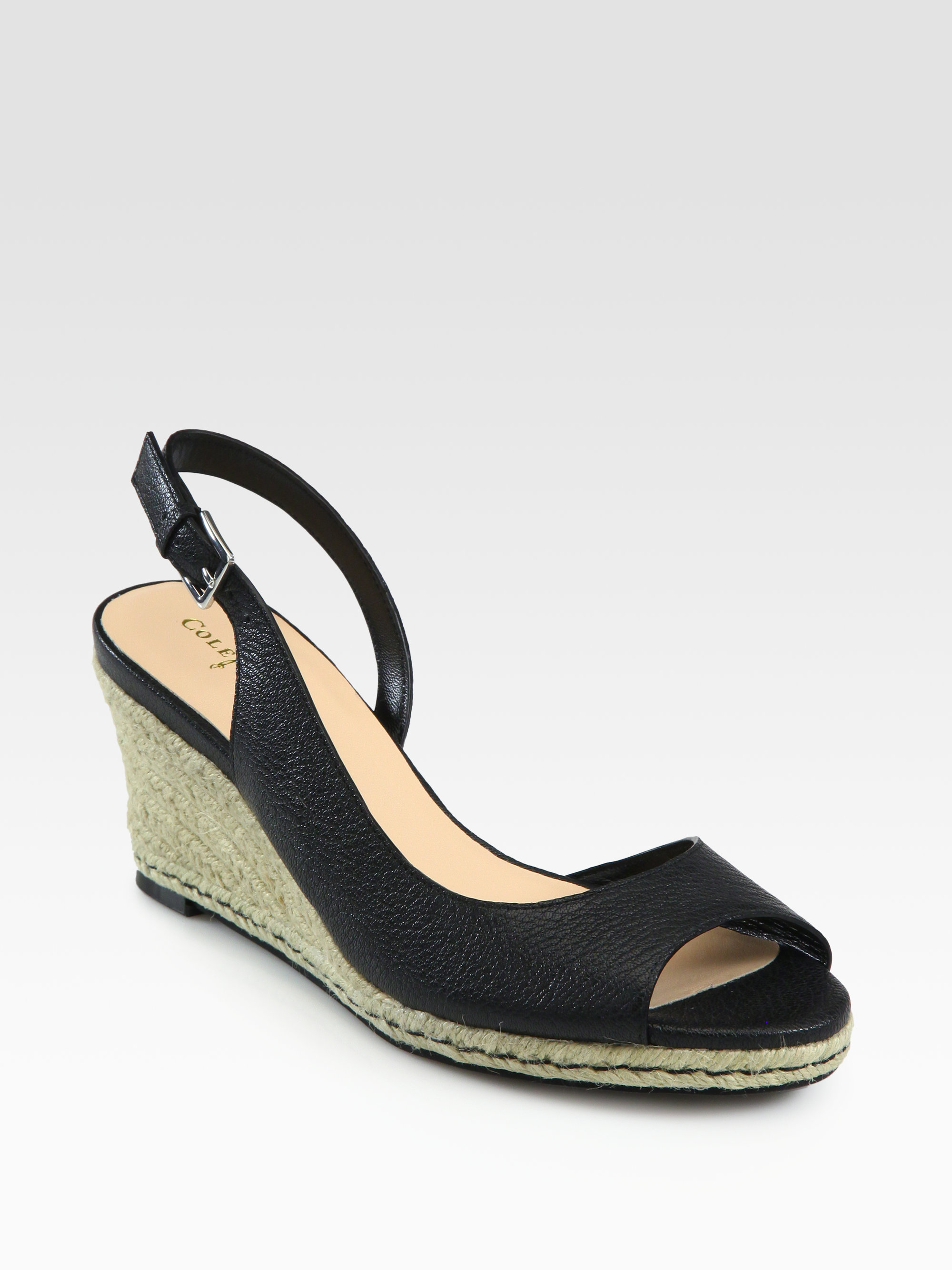cole haan adelaide leather espadrille wedge sandals in