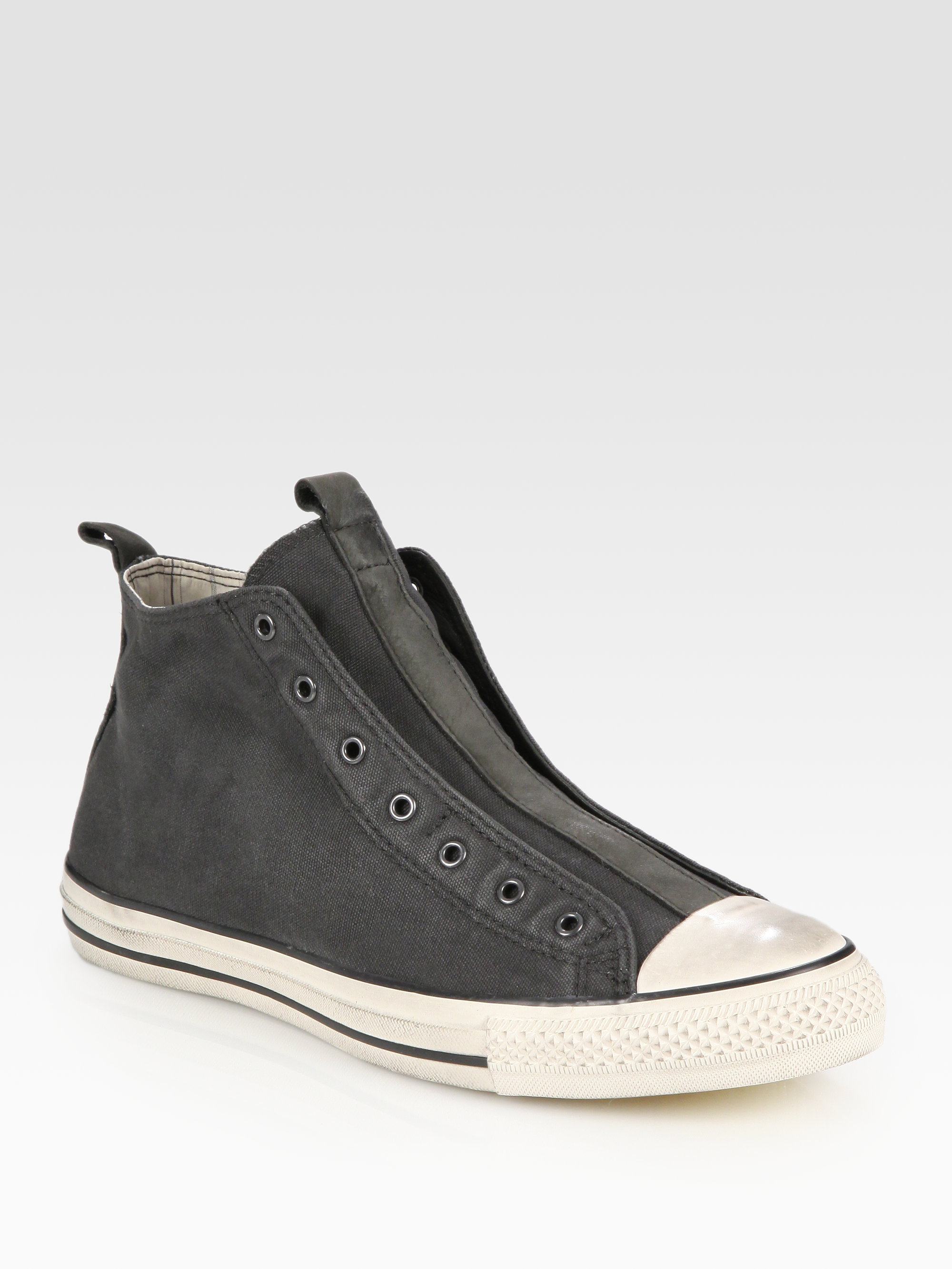 6f8ac62e7e2f ... italy lyst converse john varvatos laceless canvas hightop sneakers in  gray for men 1b1fd bd06a