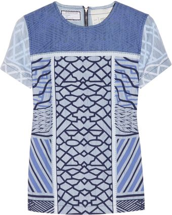 Current/Elliott The Boarding Printed Denim Top - Lyst