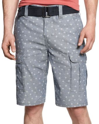 DKNY Diamond Print Chambray Cargo Shorts - Lyst
