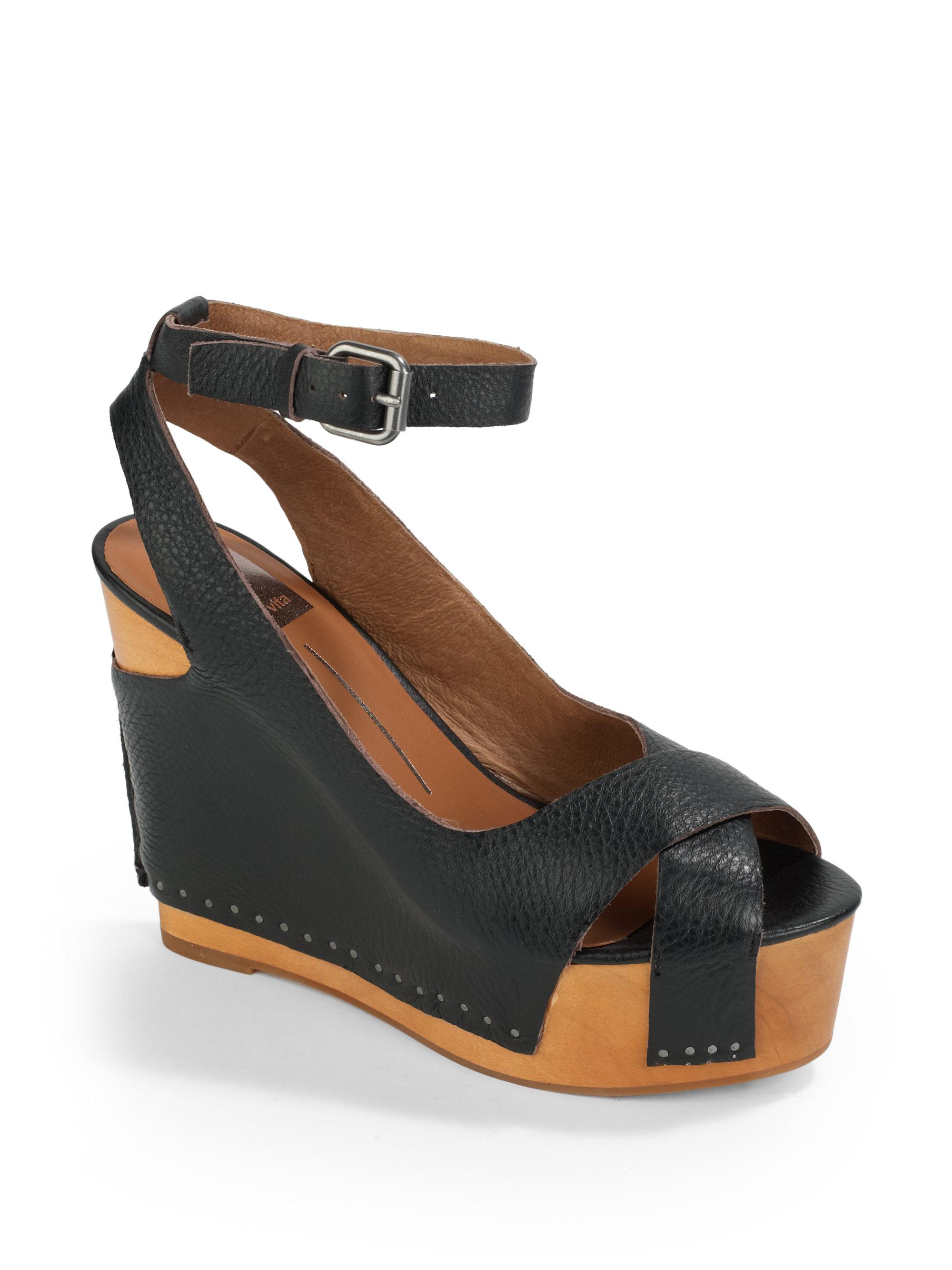 dolce vita jaelyn wooden wedge sandals in black lyst
