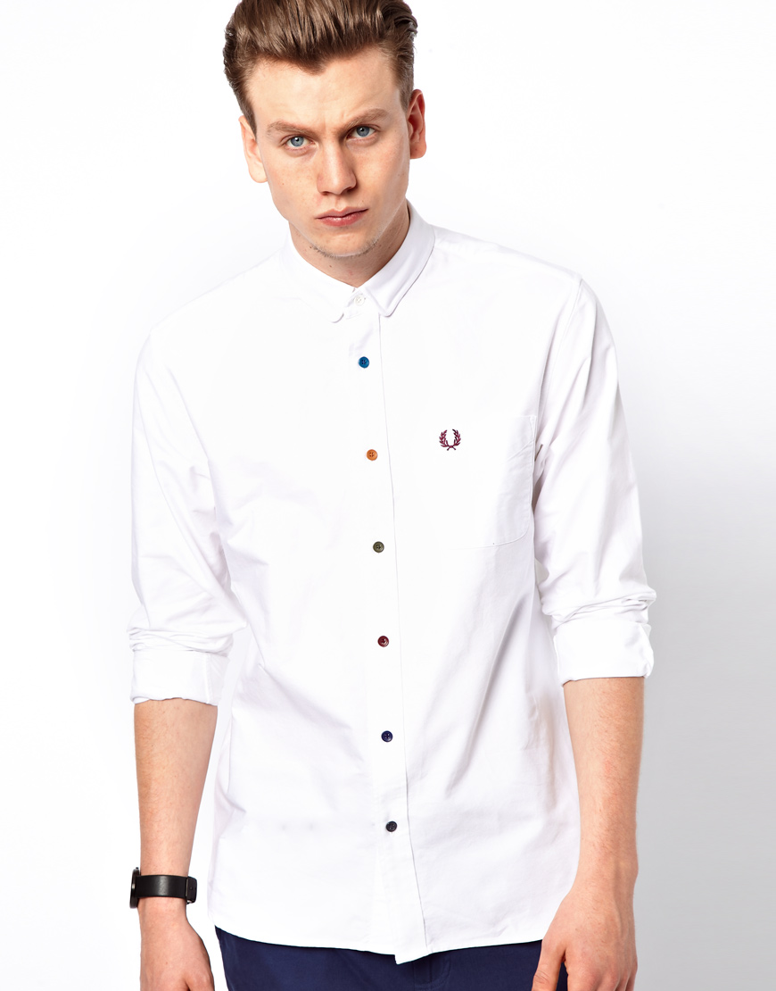 Lyst - Fred Perry Oxford Shirt with Multi Coloured Buttons ...