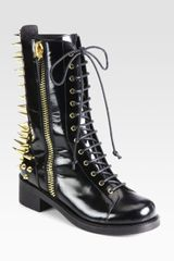 Giuseppe Zanotti Studded Leather Combat Boots in Black - Lyst