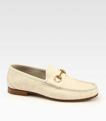 Gucci White Straw Horsebit Loafer - Lyst